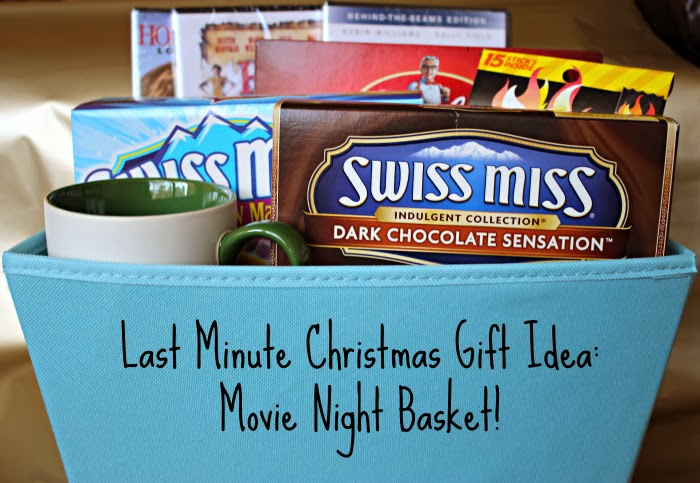 last minute christmas gift idea movie night basket featuring hot cocoa popcorn and beef jerky easygifts