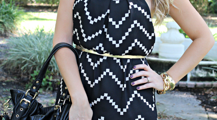 Black and Gold Chevron