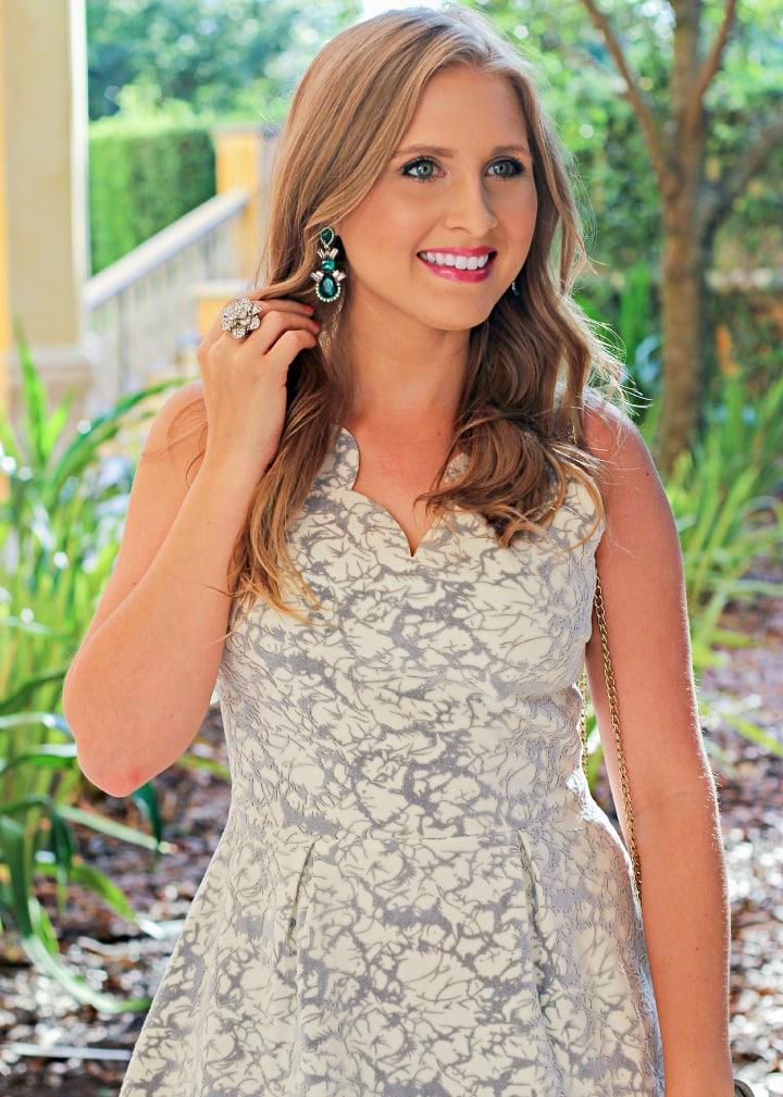 Grey And White Scalloped Dress Outfit Ashley Brooke Nicholas