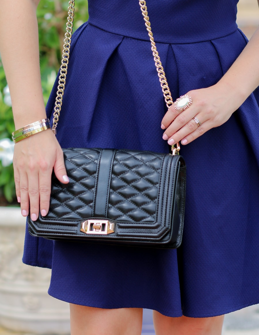 Rebecca Minkoff Black Love Cross Bag Taudrey Bracelets Kendra Scott Ring OPI Pretty Pink Perseveres