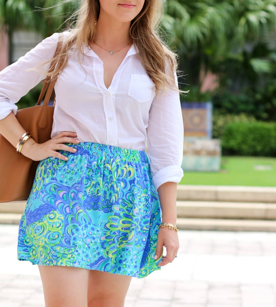 Taudrey Pineapple Necklace and Fashionista's Diary Bracelet Set with Baublebar Elephant bracelet and Lilly Pulitzer Lilly's Lagoon skirt