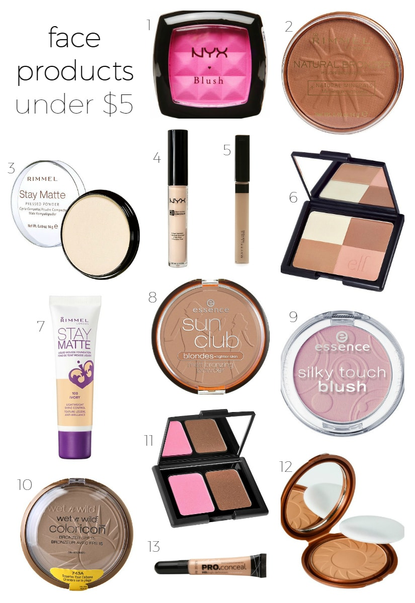 Best Makeup Under $5 -including NYX blush, Rimmel natural bronzer, Rimmel Stay Matte powder, NYX HD concealer, Maybelline Fit Me concealer, ELF bronzer, Essence Sun Club bronzer, Essence Silky Touch blush, Rimmel Stay Matte foundation, Wet n Wild highlighter, ELF bronzer blush duo, LA Girl Pro Conceal concealer, NYC Sunny bronzer | Affordable drugstore makeup that you'll LOVE curated by beauty blogger Ashley Brooke Nicholas