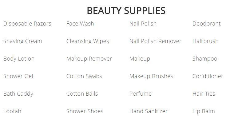 college packing list beauty