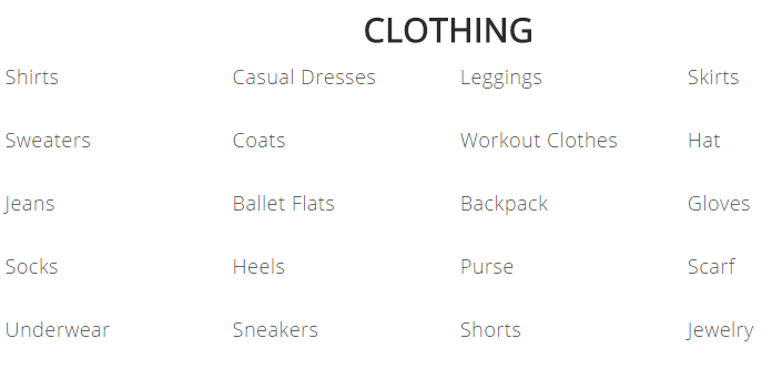 college packing list clothes