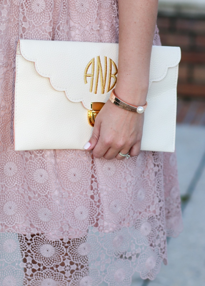 Have-Courage-and-be-kind-rose-gold-bracelet-taudrey-monogrammed-scalloped-clutch-5676