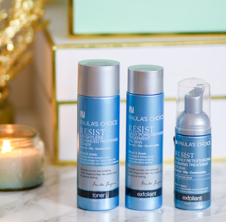 Looking for a skincare system that will gently treat acne and wrinkles? The Resist line from Paula's Choice is the perfect fit for combination skin that need anti-blemish AND anti-wrinkle treatments!