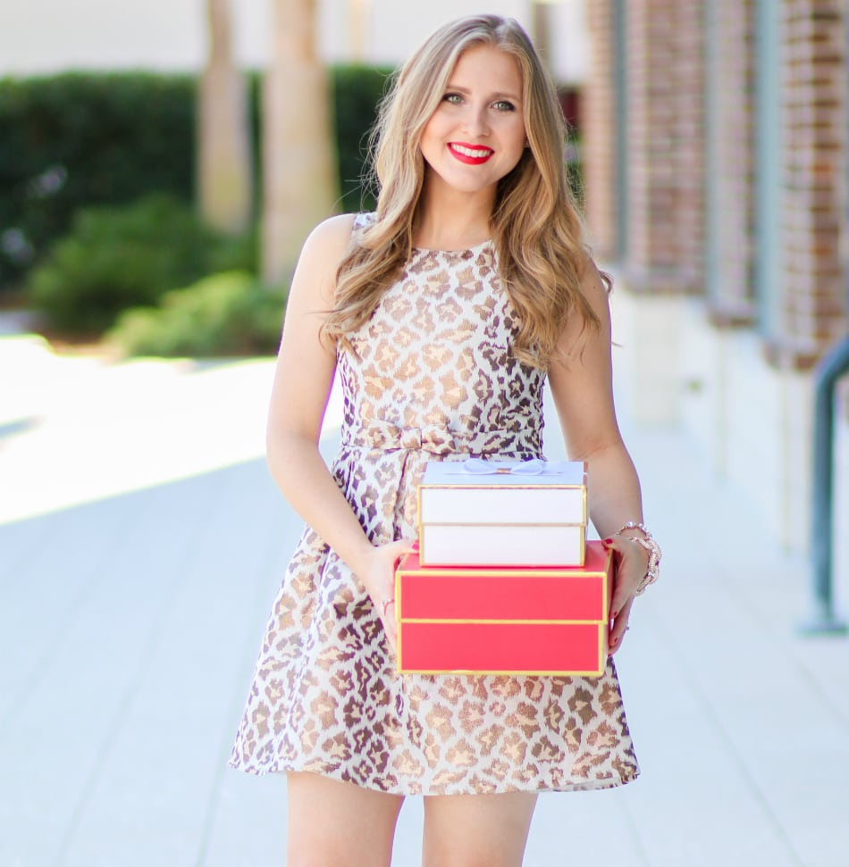 Blogger Ashley Brooke Nicholas styles a metallic leopard print dress for Target for the Christmas season