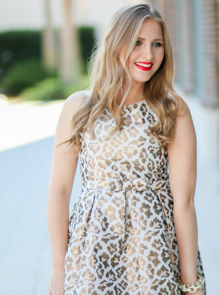 Blogger Ashley Brooke Nicholas styles an affordable holiday outfit for the Christmas season