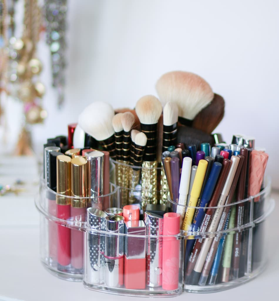 Makeup organization for small spaces featuring the most affordable acrylic makeup organizers by beauty blogger Ashley