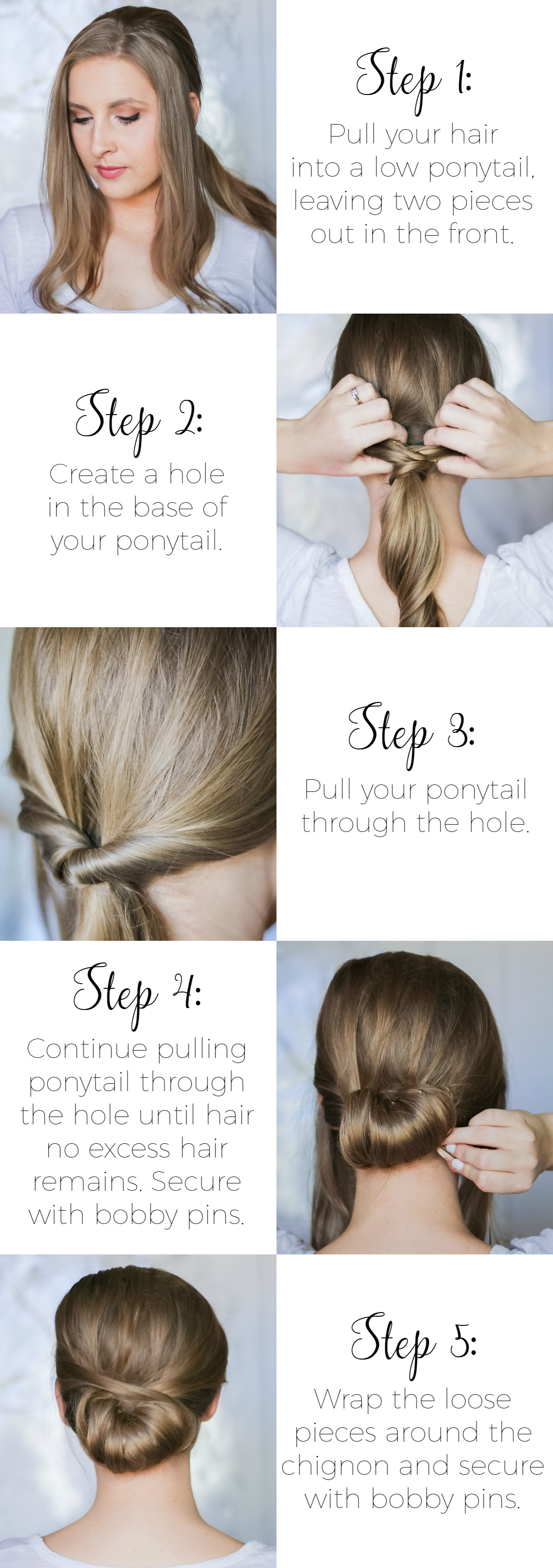 This elegant wrapped chignon is the perfect second-day hairstyle idea for dirty hair. It's a great hairstyle for weddings, fancy parties, or date night, and the 5-step process couldn't be easier to complete. Click through to see the easy step-by-step tutorial from beauty blogger Ashley Brooke!