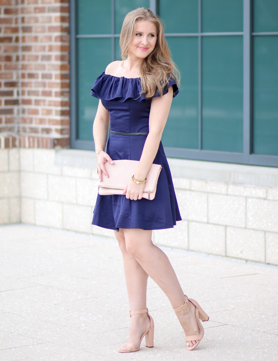 d1d19951e I m loving this navy-off-the-shoulder dress styled by Ashley