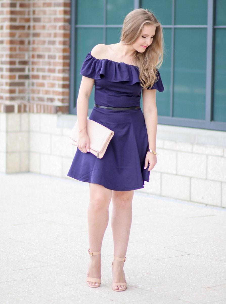 944f9af03eda I m loving this navy-off-the-shoulder dress styled by Ashley