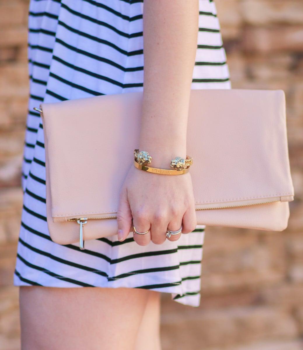 Express rose quartz clutch + Baublebar Leo Cuff + Taudrey The Fashionista's Diary Set customized gold bracelet