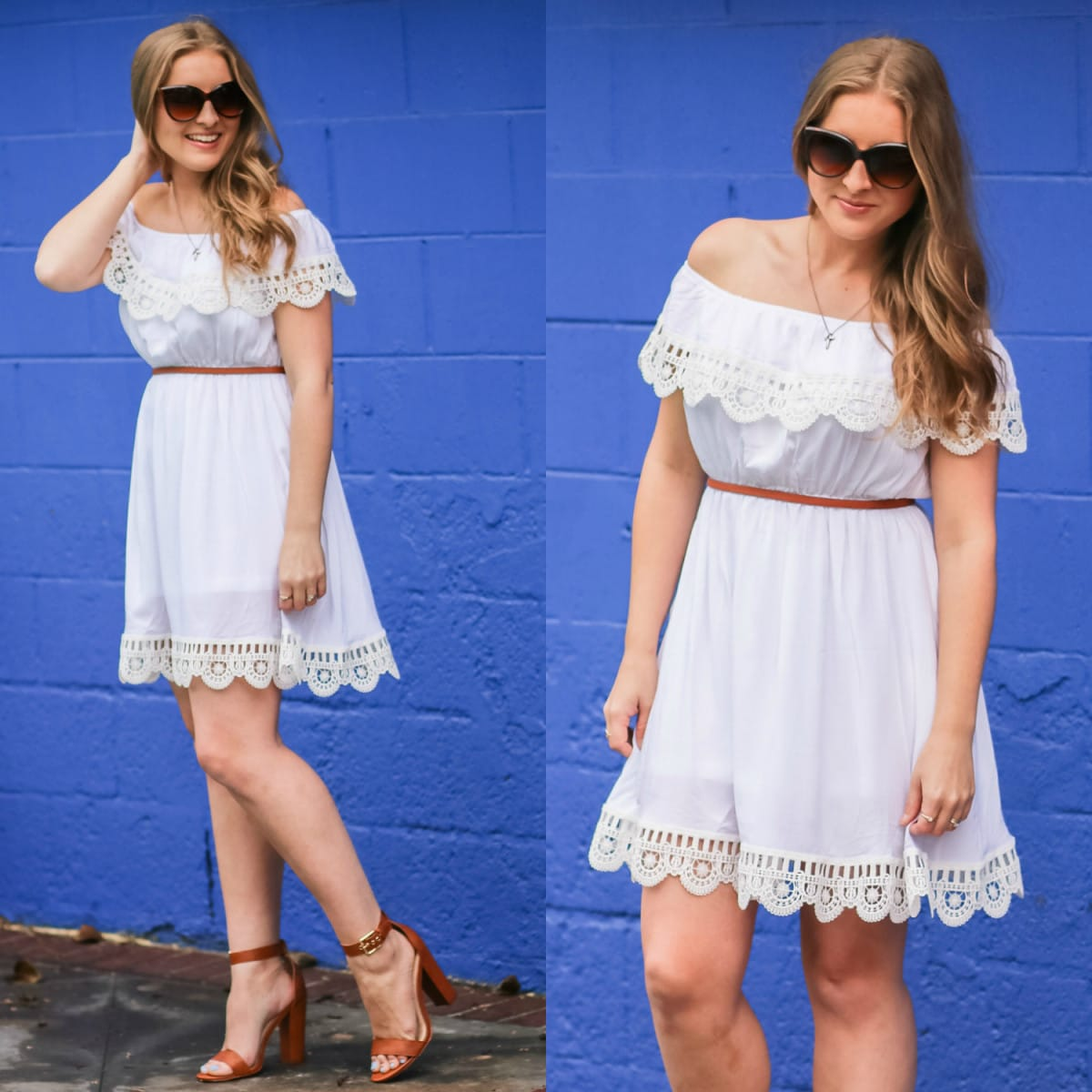 Sheinside affordable white off-the-shoulder dress styled by Ashley Brooke Nicholas at the Pacific Edge Hotel in Laguna Beach, California