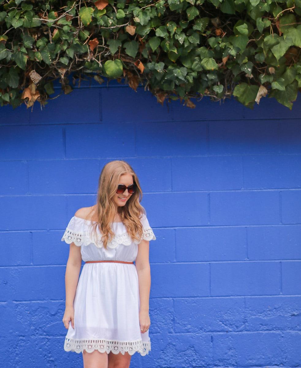 Blogger Ashley Brooke Nicholas at the Pacific Edge Hotel pool in Laguna Beach, California
