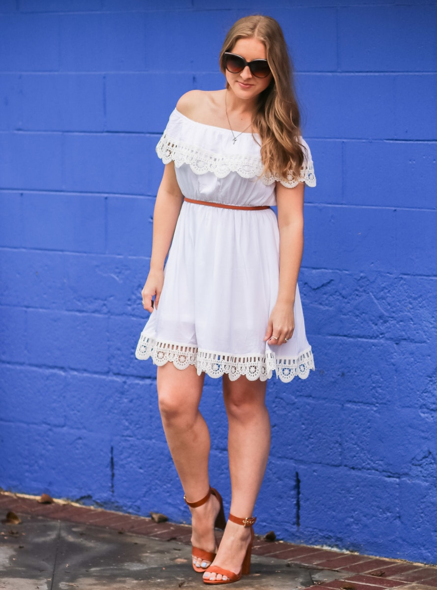 Sheinside affordable off-the-shoulder dress styled by Ashley Brooke Nicholas at the Pacific Edge Hotel in Laguna Beach, California