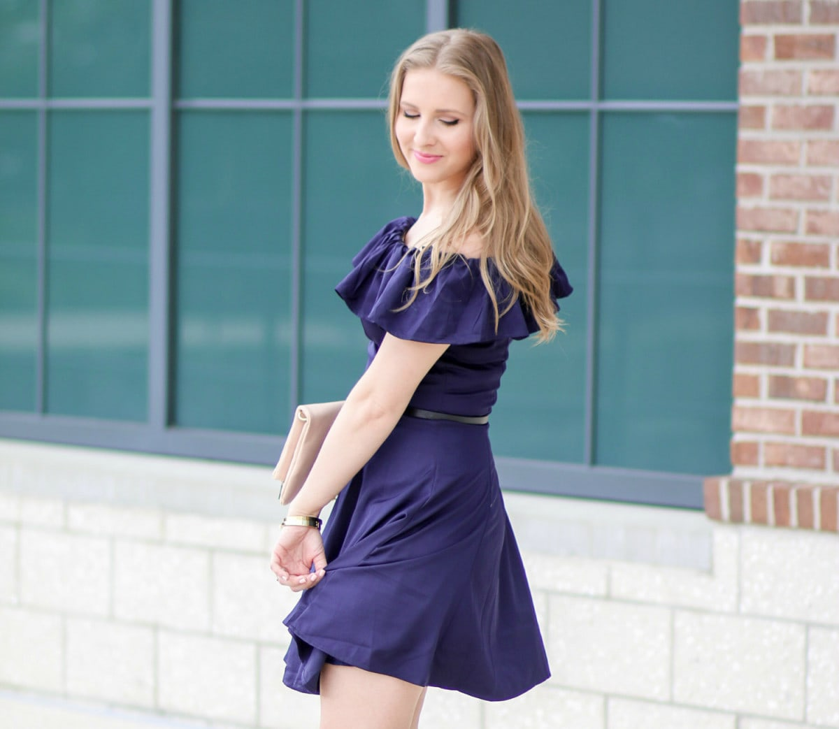 Ruffled Off-The-Shoulder Navy Dress + Covergirl Plumpify Mascara Review