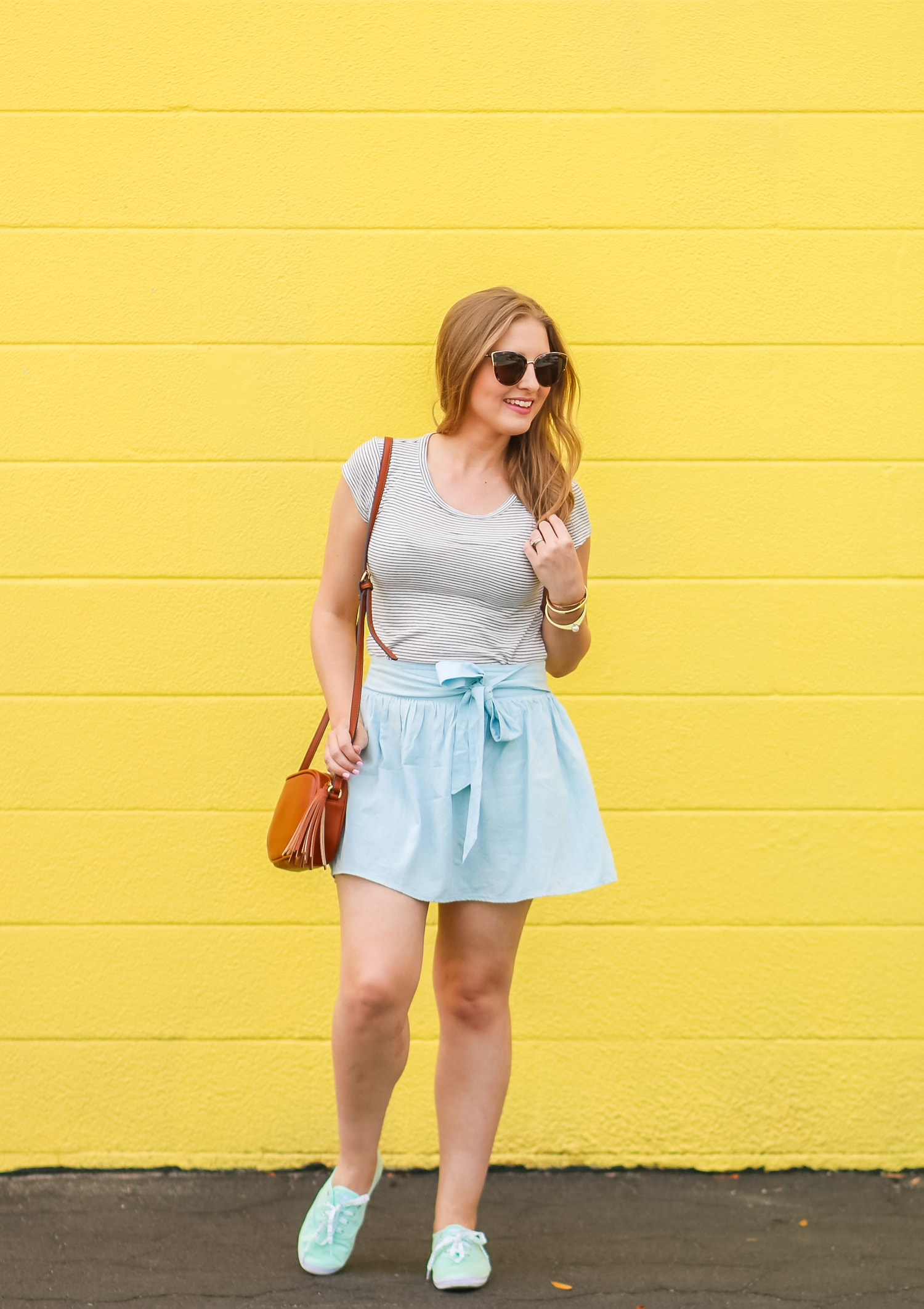 Mint Green Keds Spring Outfit Idea