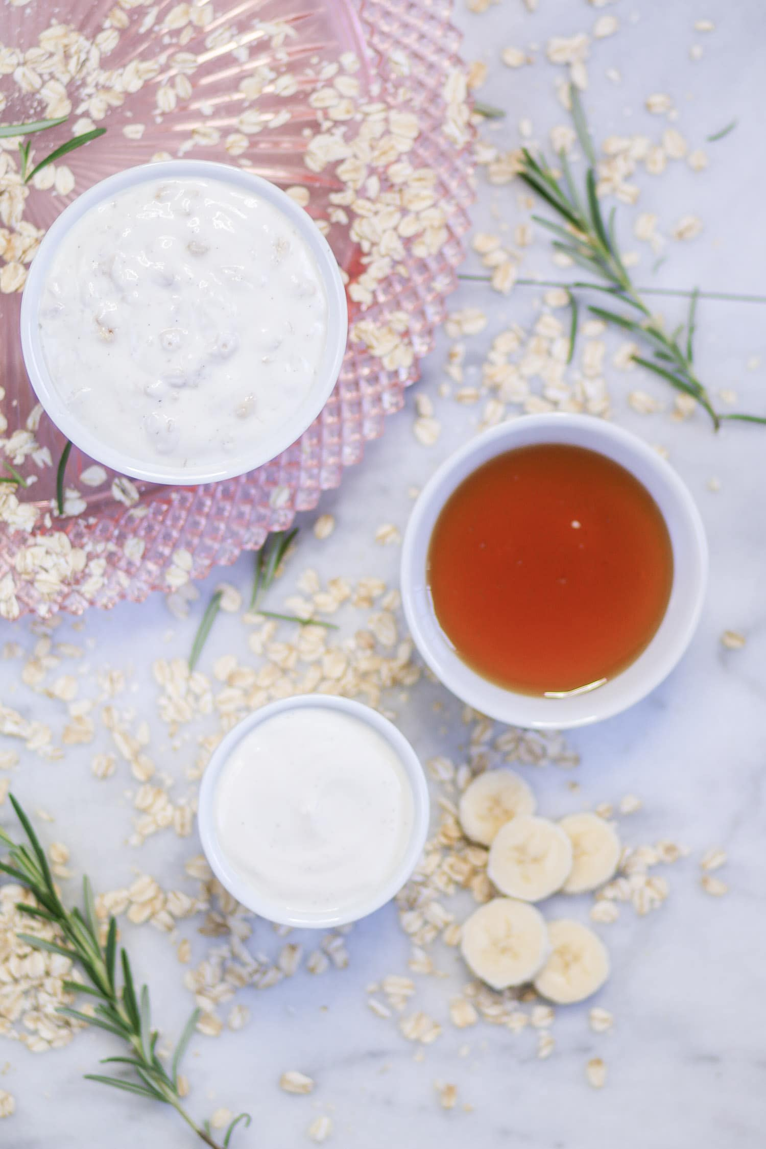 Learn how to soften and soothe your face at home with easy DIY moisturizing face mask recipe by beauty blogger Ashley Brooke which includes yogurt, oatmeal, and honey