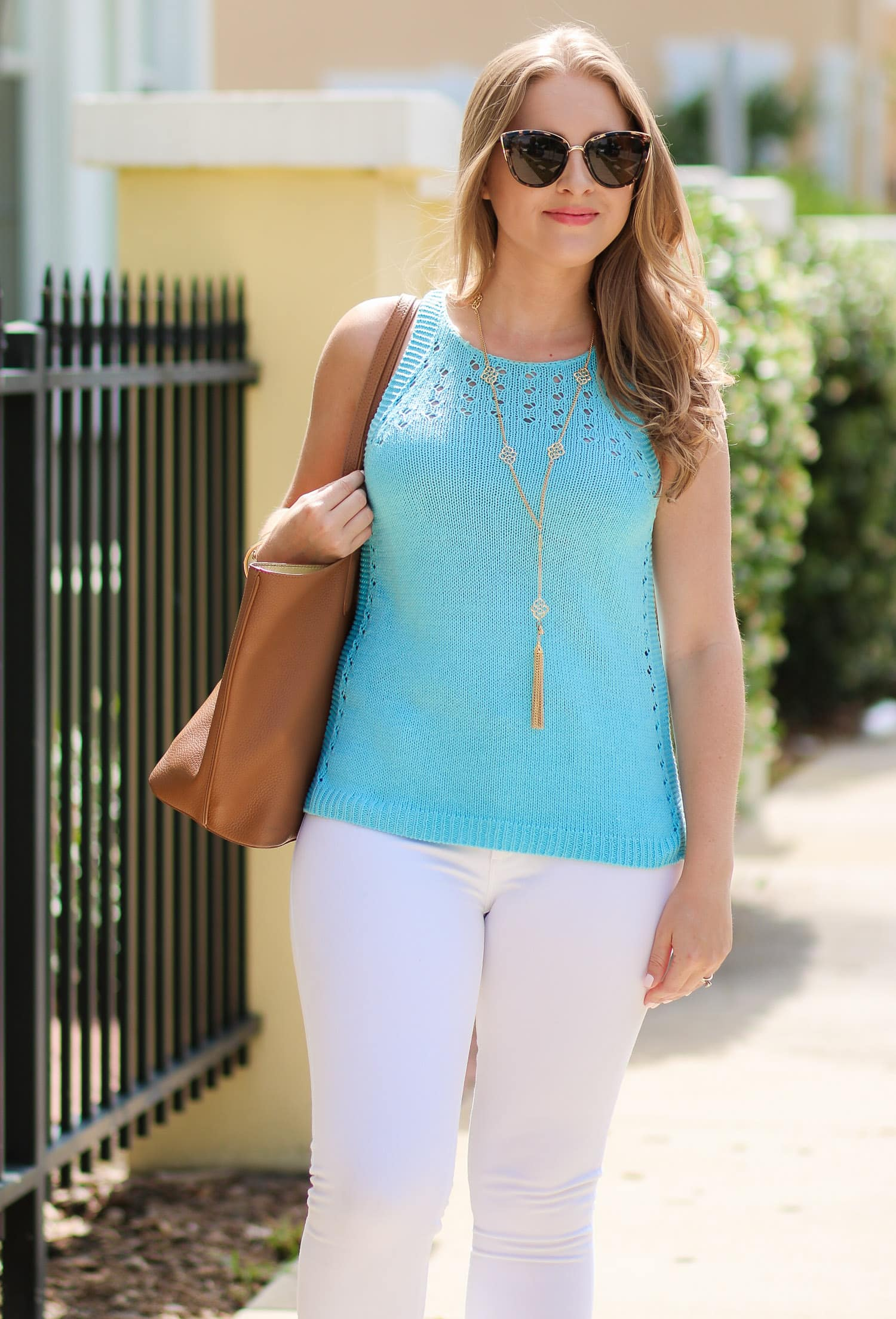 Lilly Pulitzer Mac sweater tank, Quay My Girl sunglasses, Socialite Pink Caitlin Endless Pendant