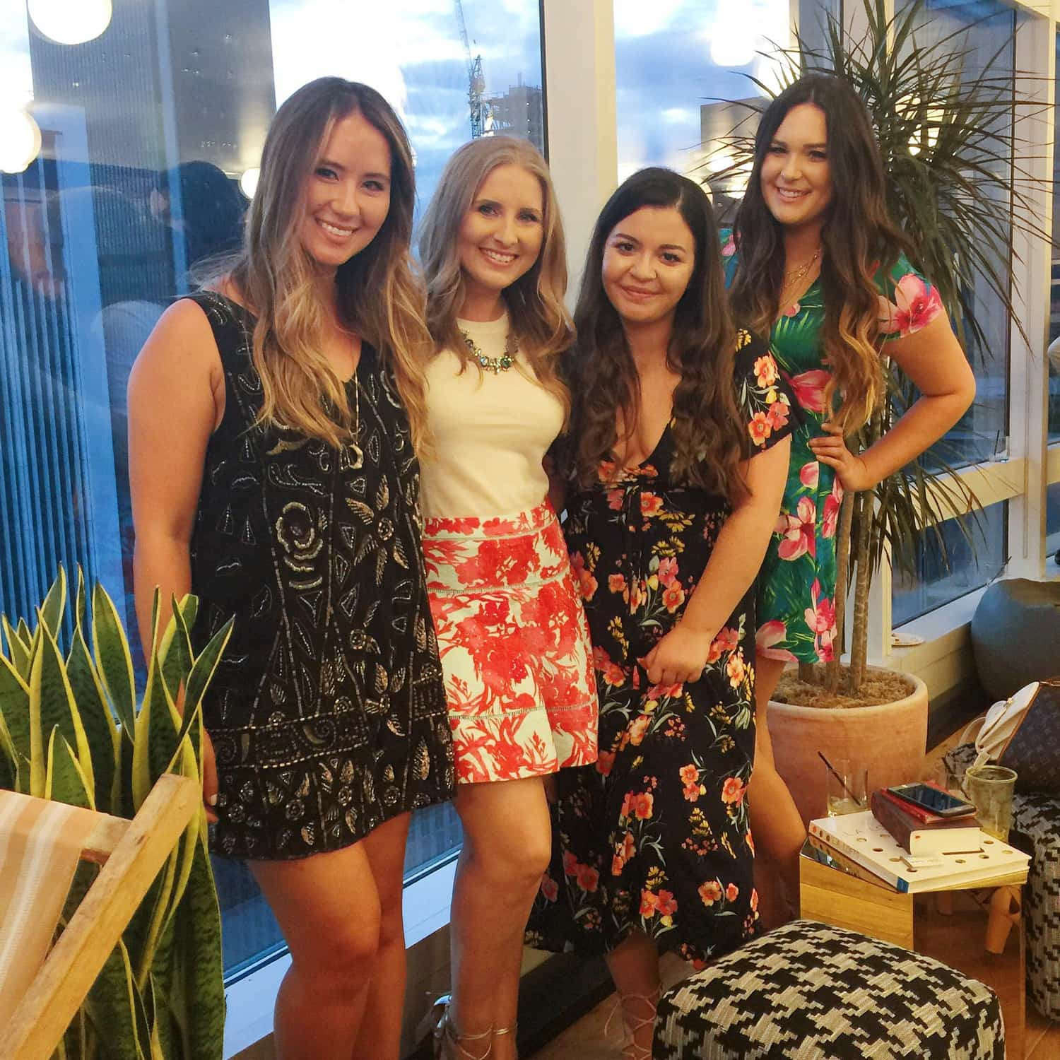 Beauty and fashion bloggers Meghan Cossmann from Boho Nouveau, Ashley Brooke Nicholas from Ashley Brooke Nicholas, Teresa Laucar from Money Can Buy Lipstick, and Michelle Kehoe from Mash Elle at the 2016 Create + Cultivate Los Angeles conference party
