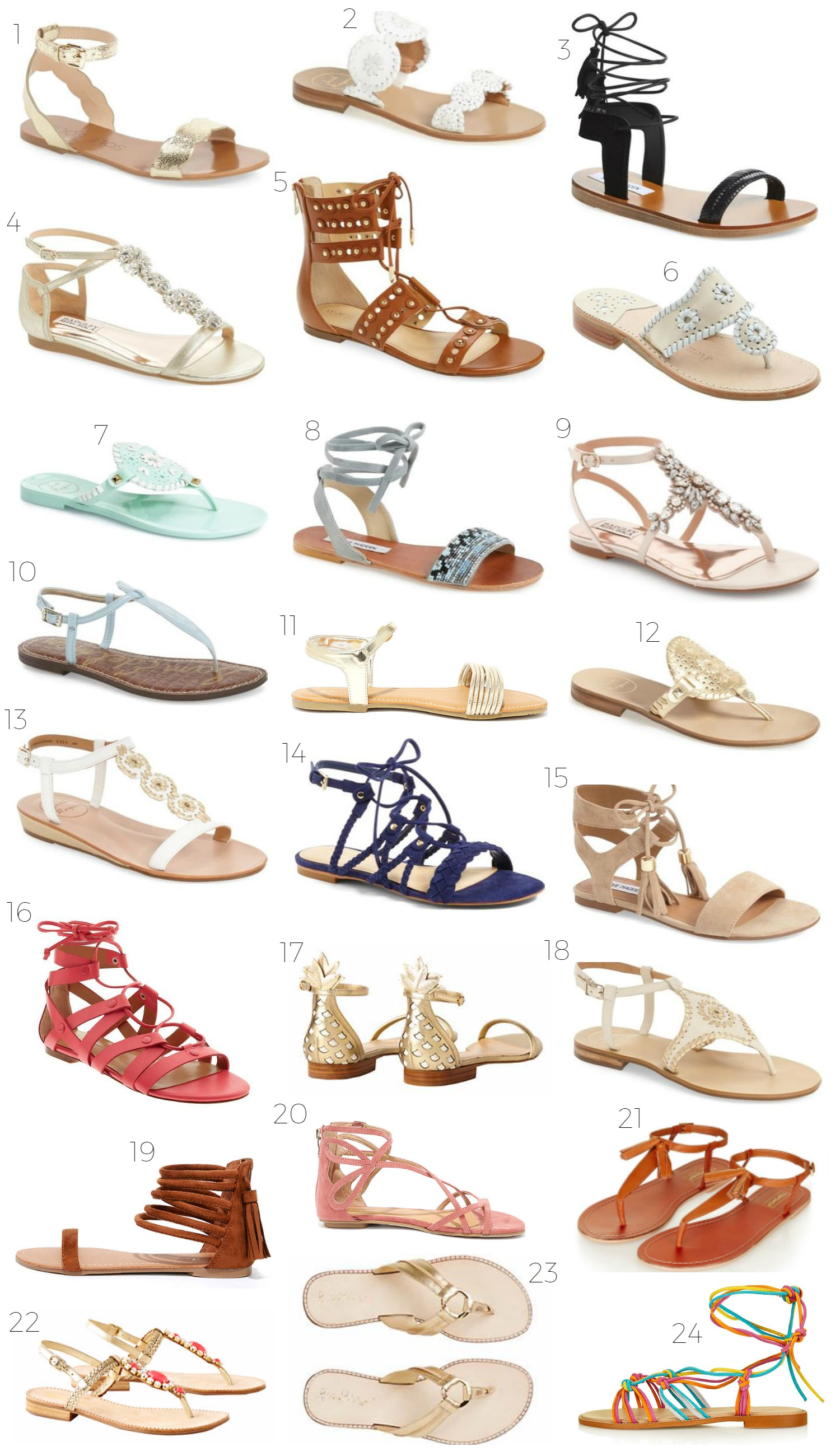 Looking for a cute pair of summer sandals? Style blogger Ashley Brooke Nicholas has rounded up the cutest summer sandals, and there's a pair that fits every single budget! If you're a fan of embellished sandals, lace-up sandals, chic and simple sandals, and studded sandals, you're gonna love this post!