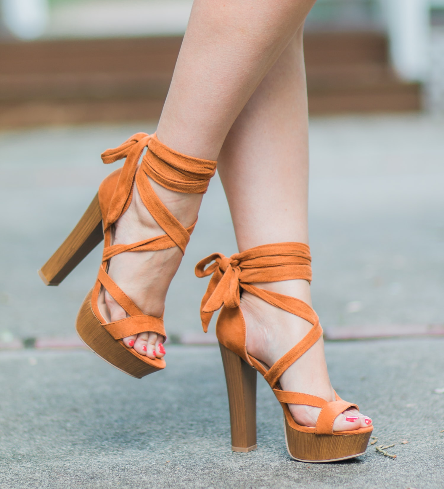 Ok, these are officially the cutest shoes I've ever seen! If you're looking for the perfect cognac lace-up heels, check out these platform sandals from Lulu*s! They're light as a feather, super comfortable, and only $31! Score! | Click through this pin to see the full summer outfit idea from style blogger Ashley Brooke Nicholas!