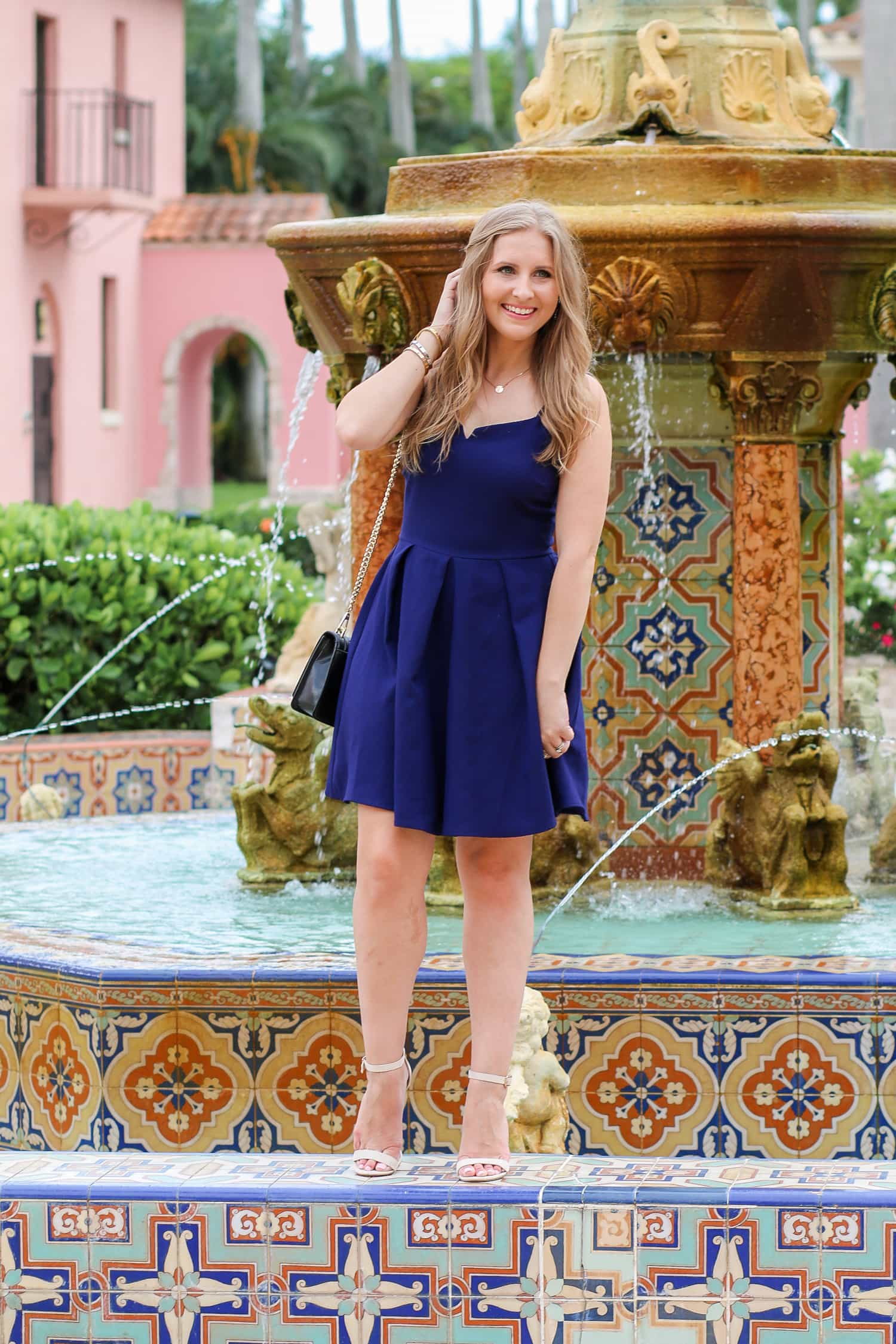 Everly navy fit and flare dress + a full review of the Boca Raton Resort & Club by blogger Ashley Brooke Nicholas
