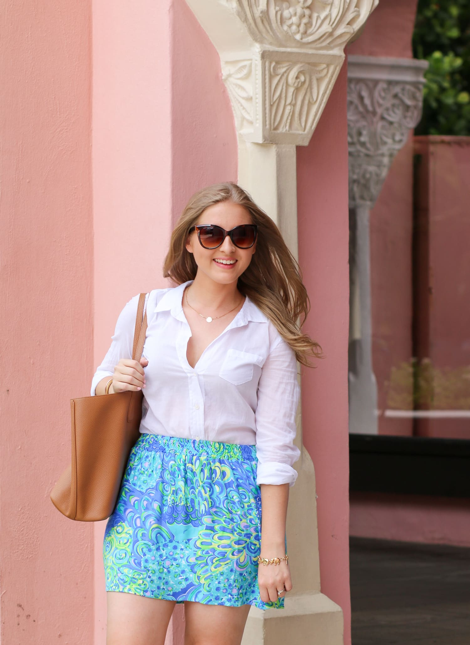 Lilly Pulitzer skirt and white button-down blogger outfit + A full review of the Boca Raton Resort & Club by blogger Ashley Brooke Nicholas