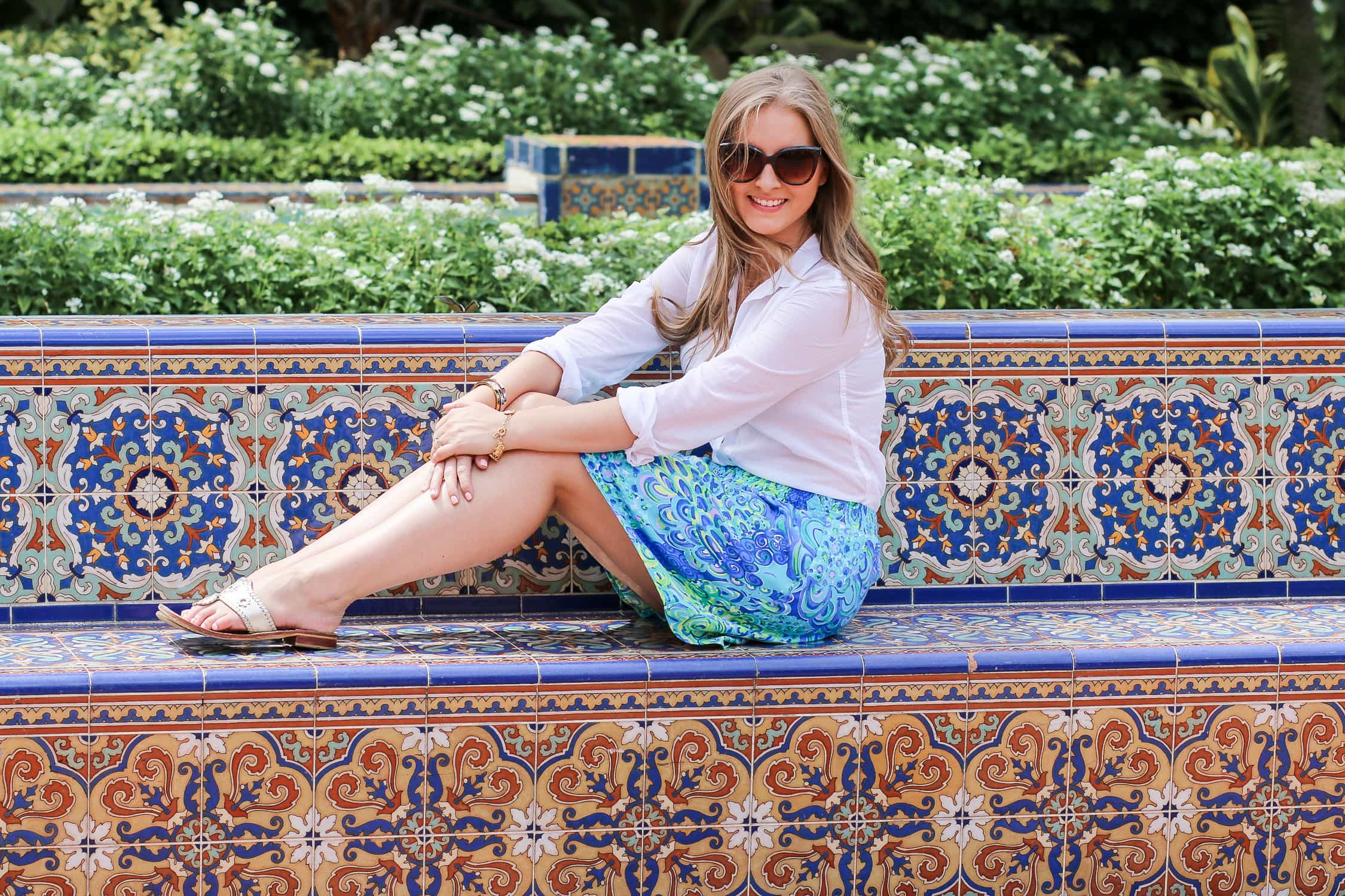 Lilly Pulitzer skirt and white button-down shirt + A full review of the Boca Raton Resort & Club by blogger Ashley Brooke Nicholas