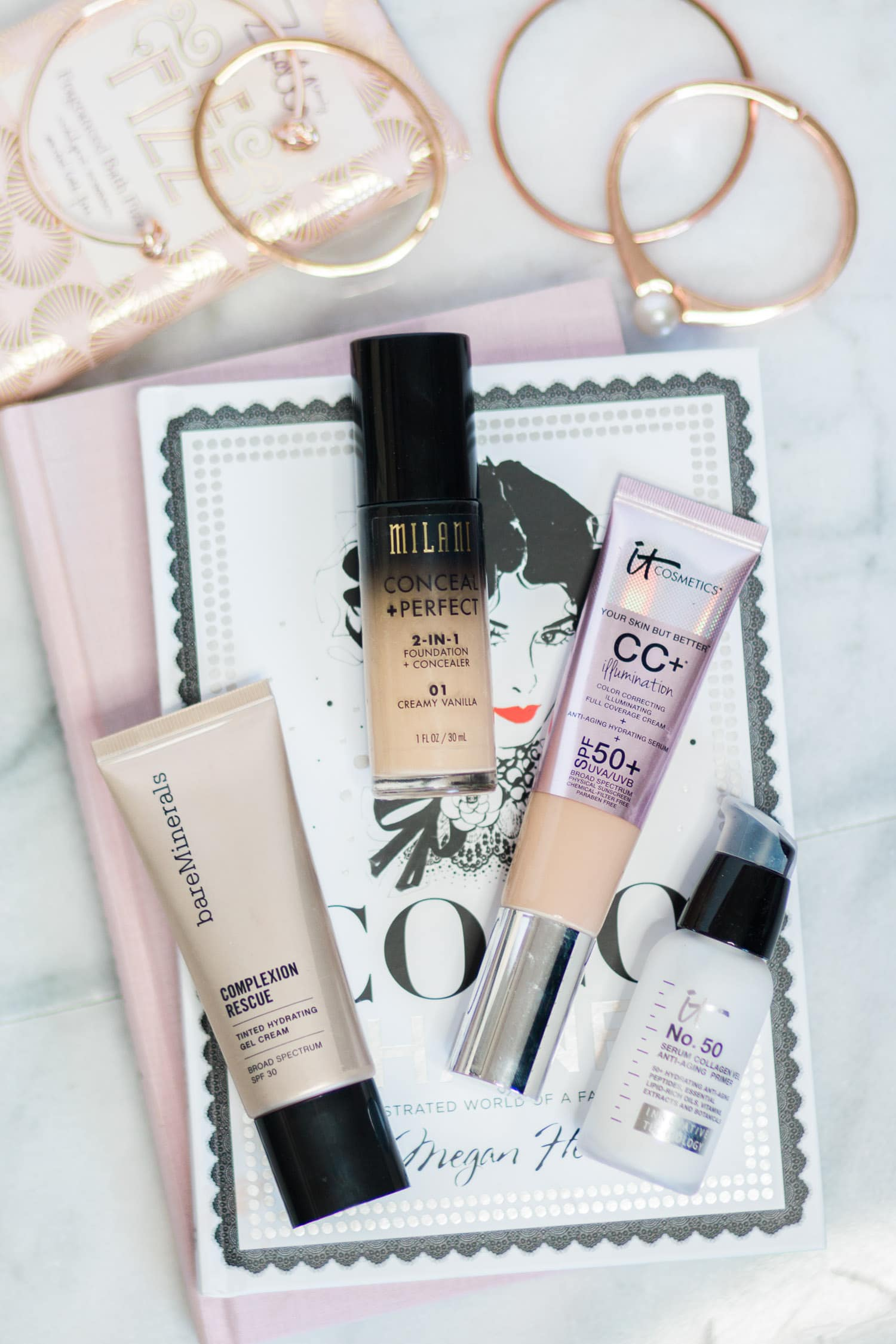 The best primer, foundation, CC cream, and tinted moisturizer, including: It Cosmetics Serum Collagen Veil Anti-Aging Primer, It Cosmetics CC+ Cream Illumination SPF 50+, Milani Conceal + Perfect 2-in-1 Foundation + Concealer, and bareMinerals Complexion Rescue Tinted Hydrating Gel Cream in Wheat   Summer beauty favorites by beauty blogger Ashley Brooke Nicholas