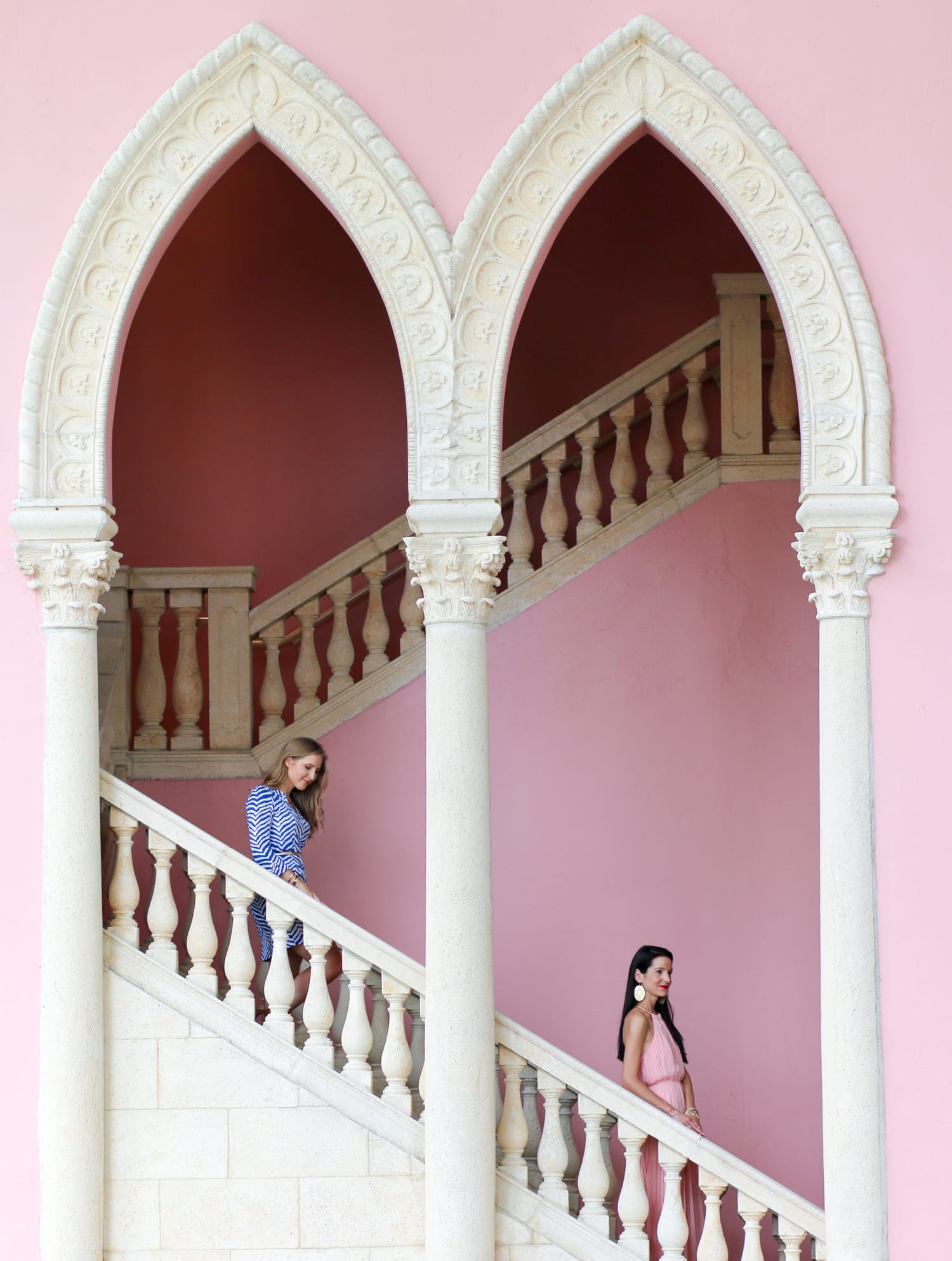 Gorgeous pink staircase + A full review of the Boca Raton Resort & Club by blogger Ashley Brooke Nicholas