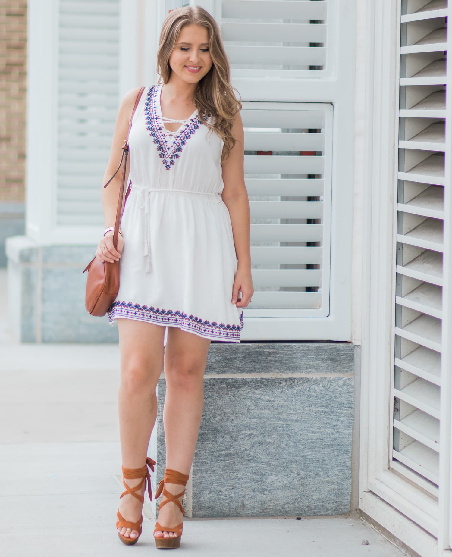 forever-21-white-embroidered-lace-up-dress-blogger-outfit-cognac-lace-up-heels-7122