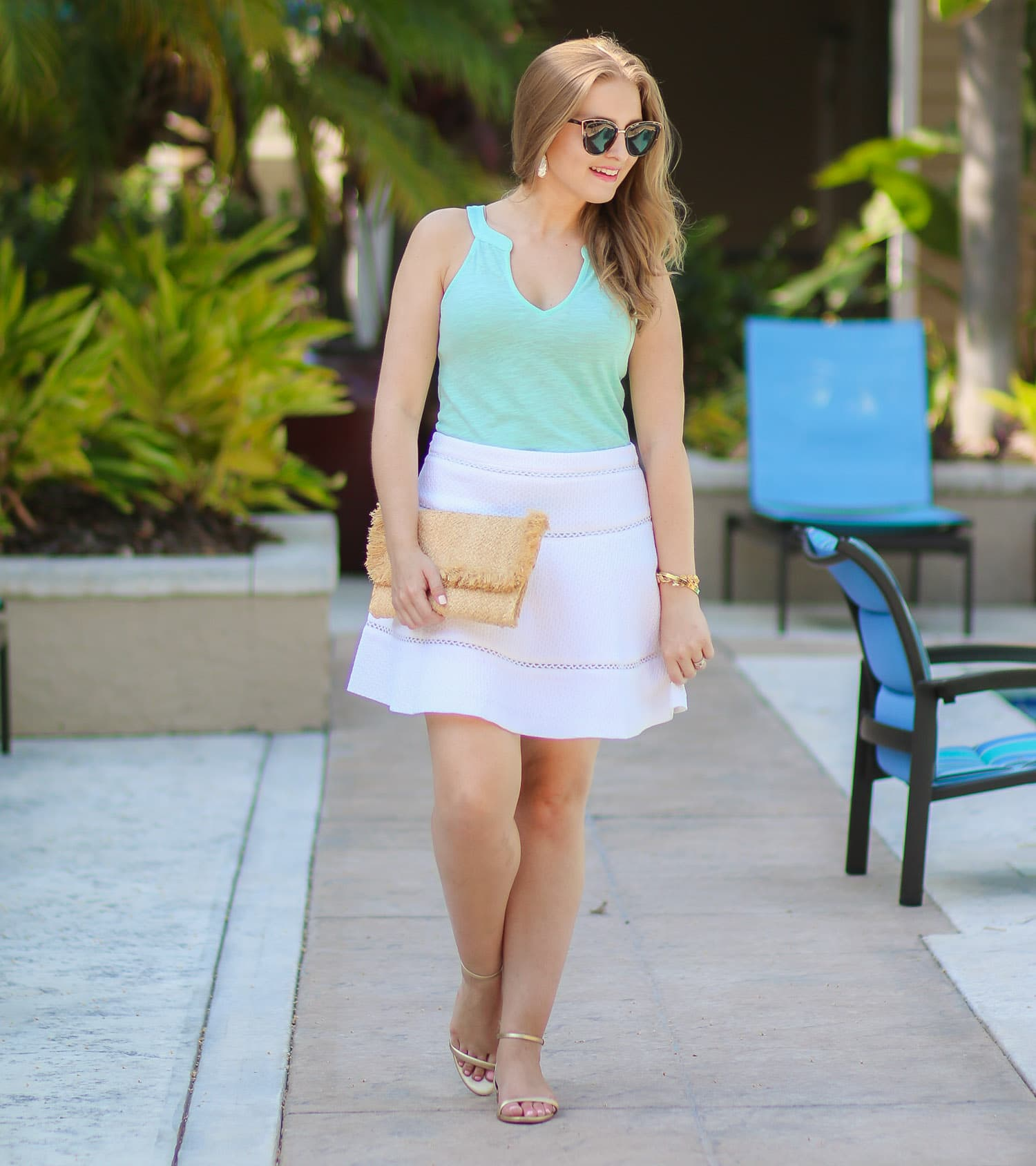 What to buy at the Lilly Pulitzer After Party Sale   Lilly Pulitzer Arya top in aqua, Lilly Pulitzer gold pineapple sandals, Banana Republic white fit and flare skater skirt, Hat Attack raffia clutch with fringe, Baublebar gold pineaple bracelet, Kendra Scott Elle earrings, Quay My Girl tortoiseshell cat eye sunglasses   Outfit idea by style blogger Ashley Brooke Nicholas