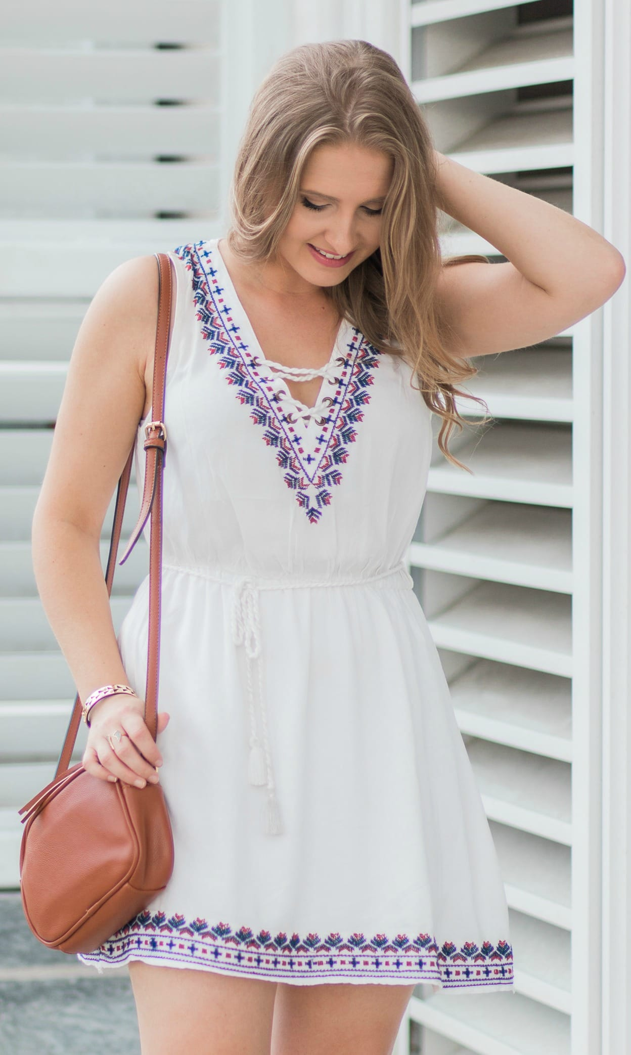 Forever 21 embroidered lace-up dress, Old Navy cognac tassel crossbody bag, Lulu's cognac lace-up heels, and Stella & Dot Addison cuff | Ashley Brooke Nicholas