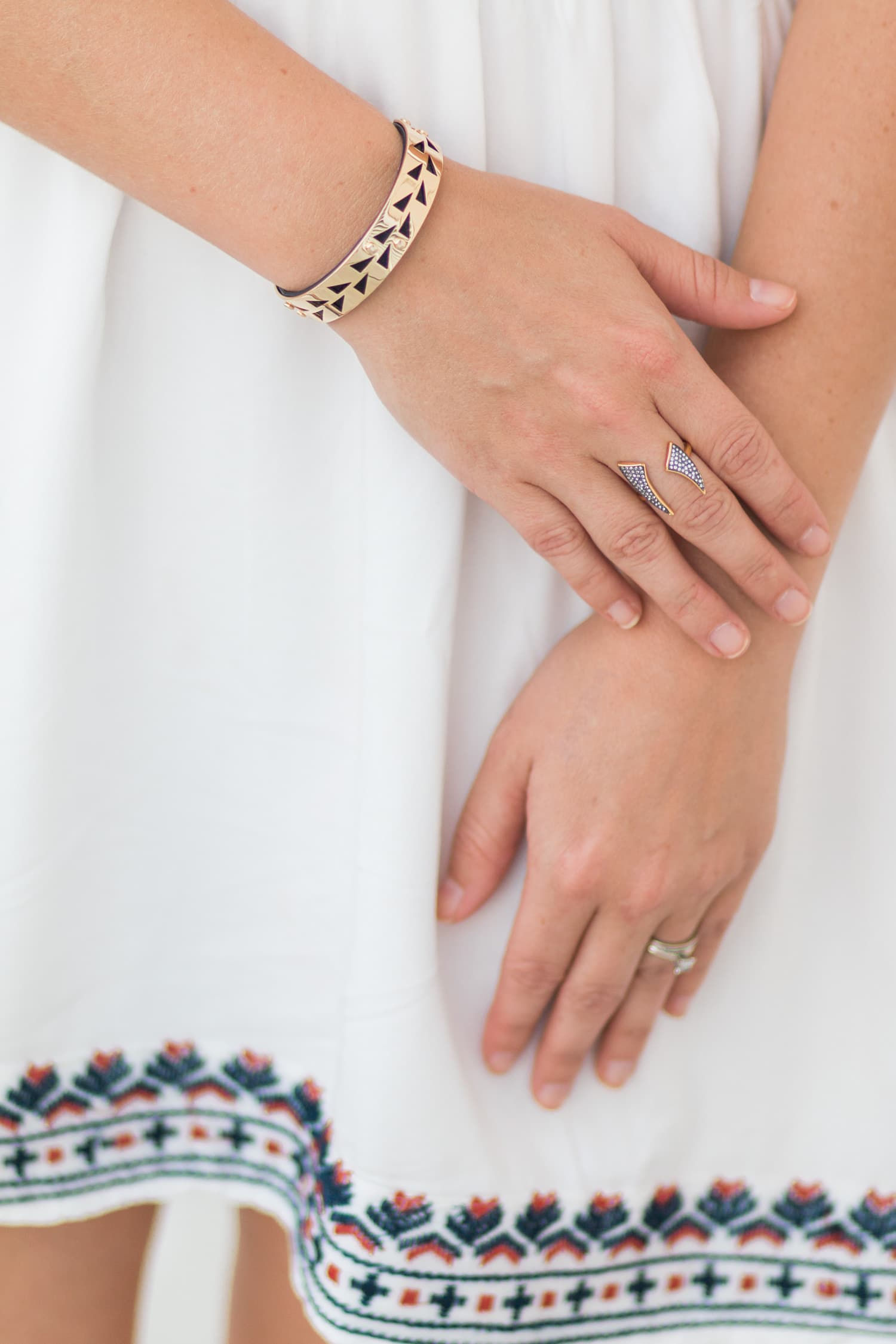 Stella & Dot Addison cuff and Pave Horn Ring | outfit styled by Ashley Brooke Nicholas