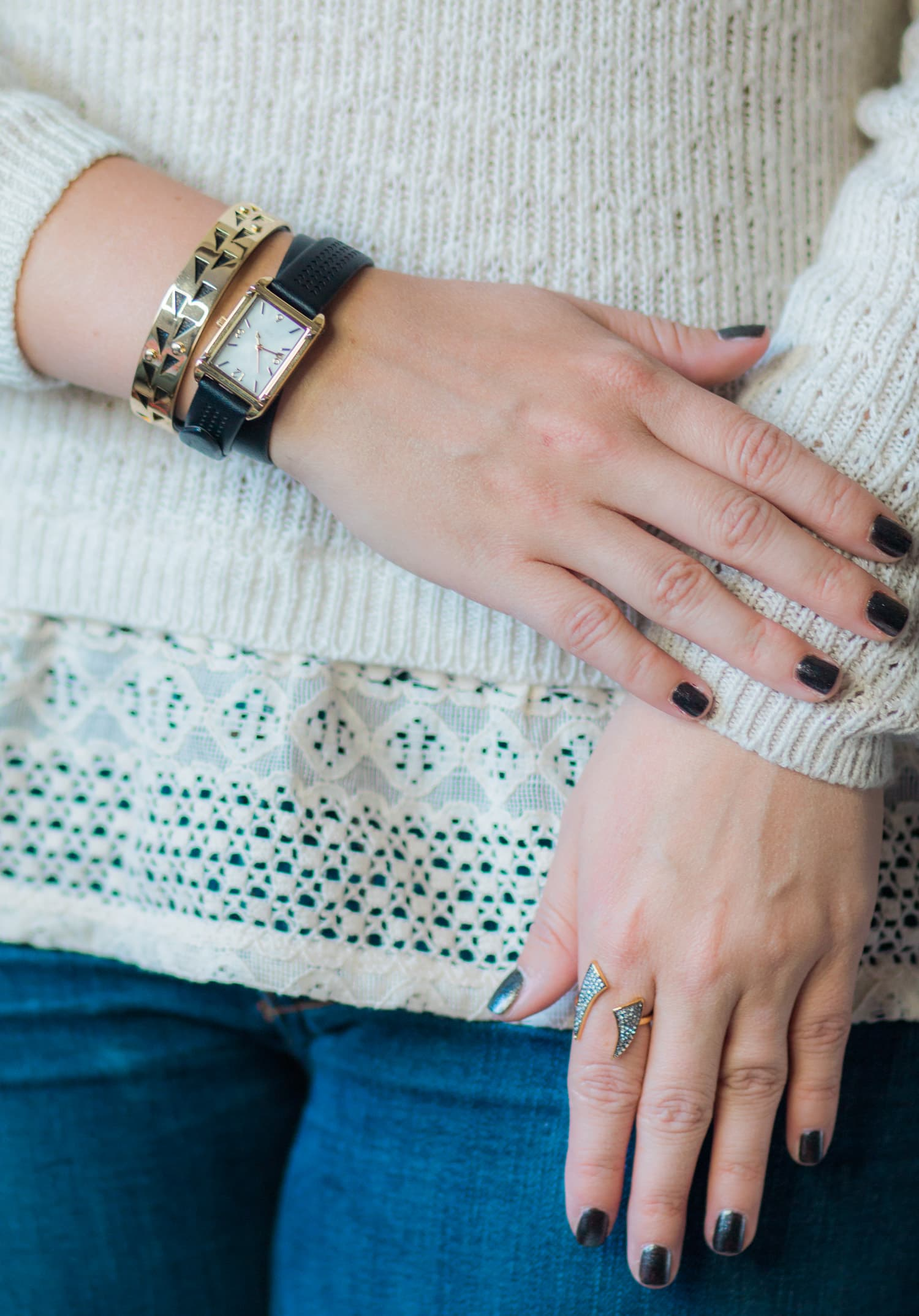 Stella & Dot fall collection - including a review of the Pyramid Tank Watch, Addison Cuff, and Pave Horn Ring by Orlando, Florida style blogger Ashley Brooke Nicholas