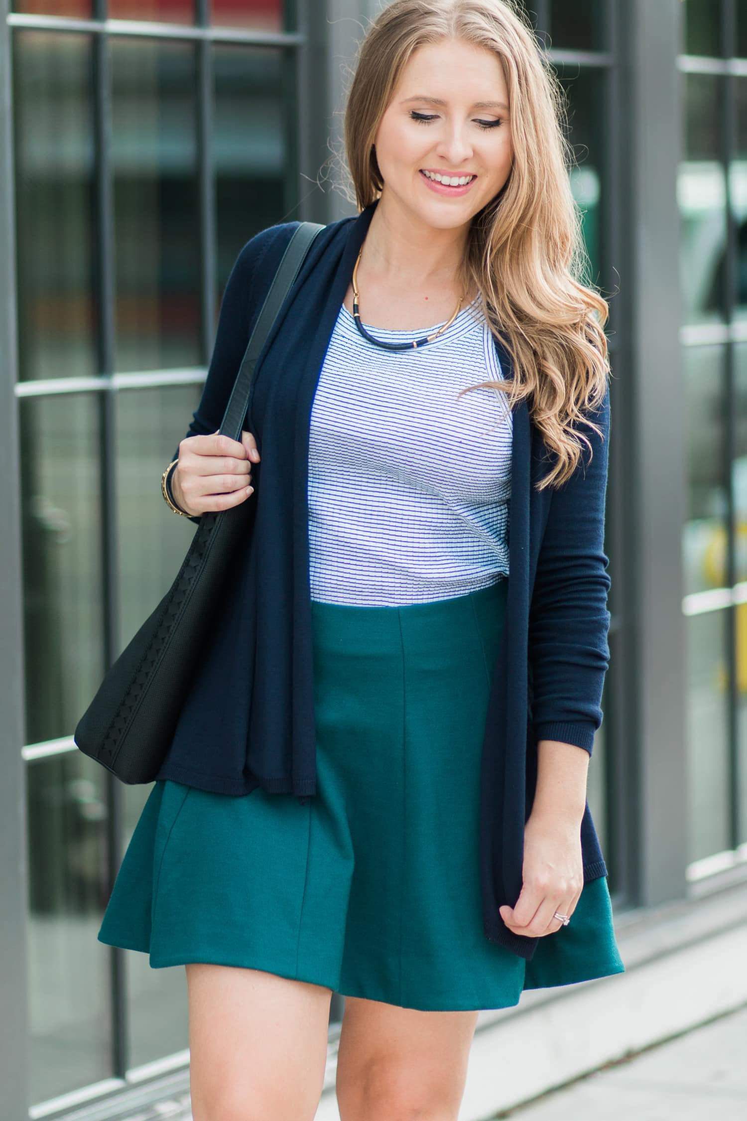 Cute fall outfit idea (Kimchi Blue skater skirt from Urban Outfitters, Zara navy cardigan, Zara striped halter top) + a full review of the Stella & Dot fall collection, including the Marcell Collar Necklace.