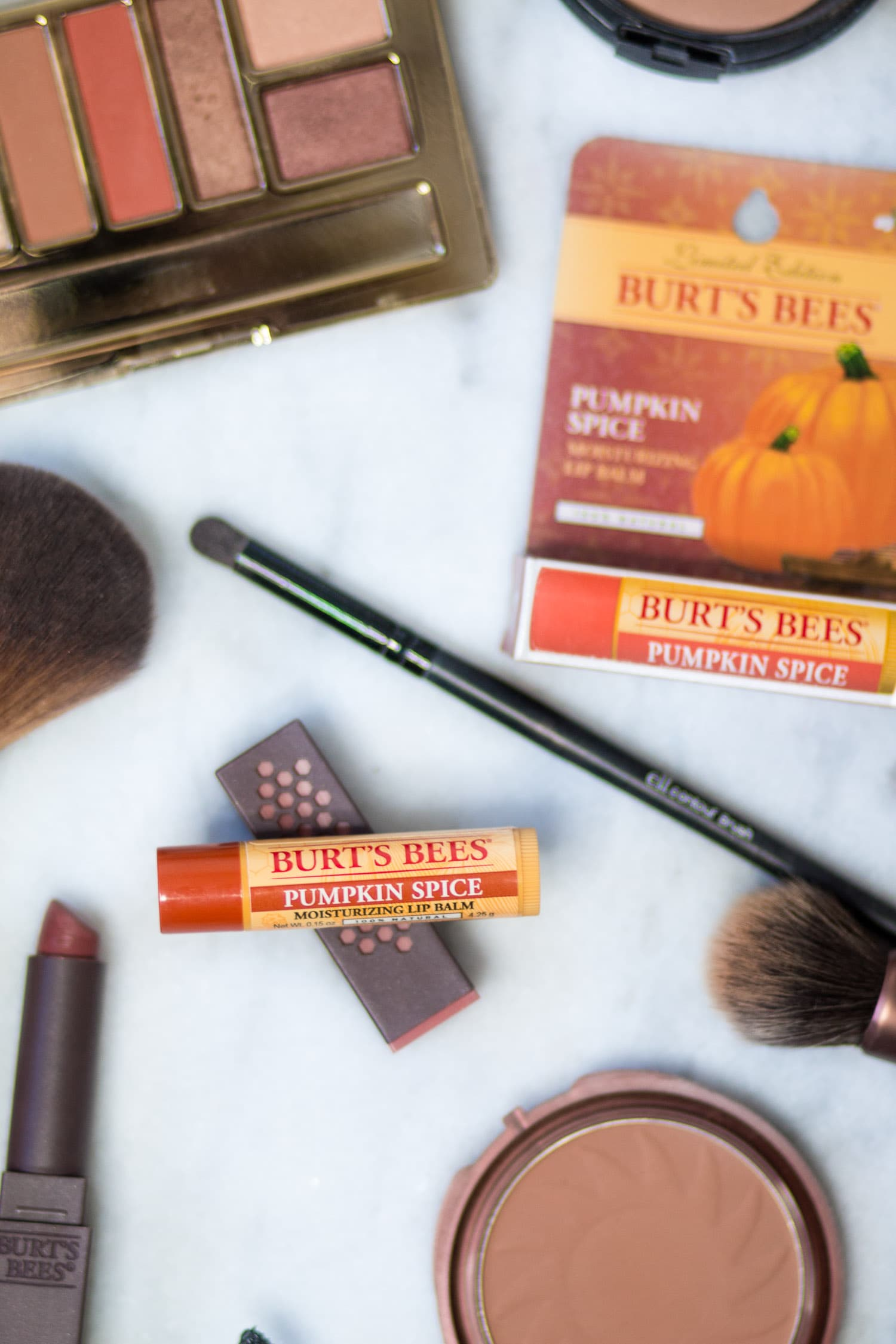 Easy pumpkin spice makeup tutorial featuring all drugstore makeup and Burt's Bees Pumpkin Spice lip balm by beauty blogger Ashley Brooke Nicholas