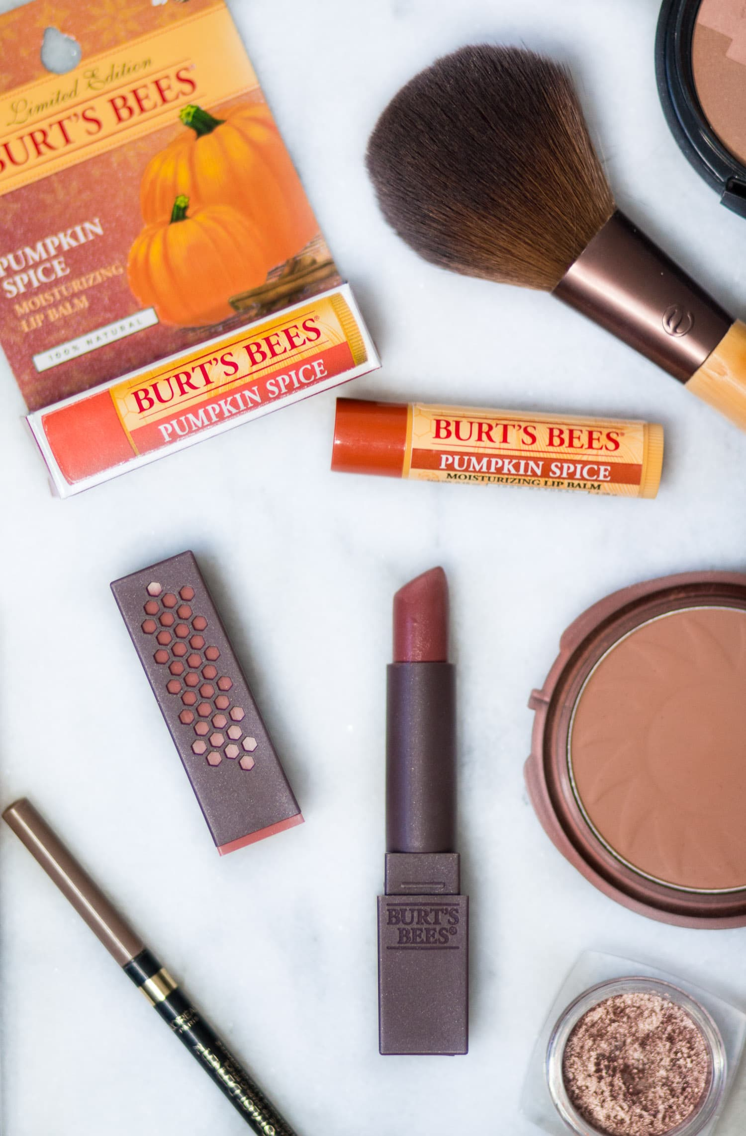 Easy pumpkin spice makeup tutorial featuring all drugstore makeup and Burt's Bees Pumpkin Spice lip balm and lipstick in Suede Splash by beauty blogger Ashley Brooke Nicholas