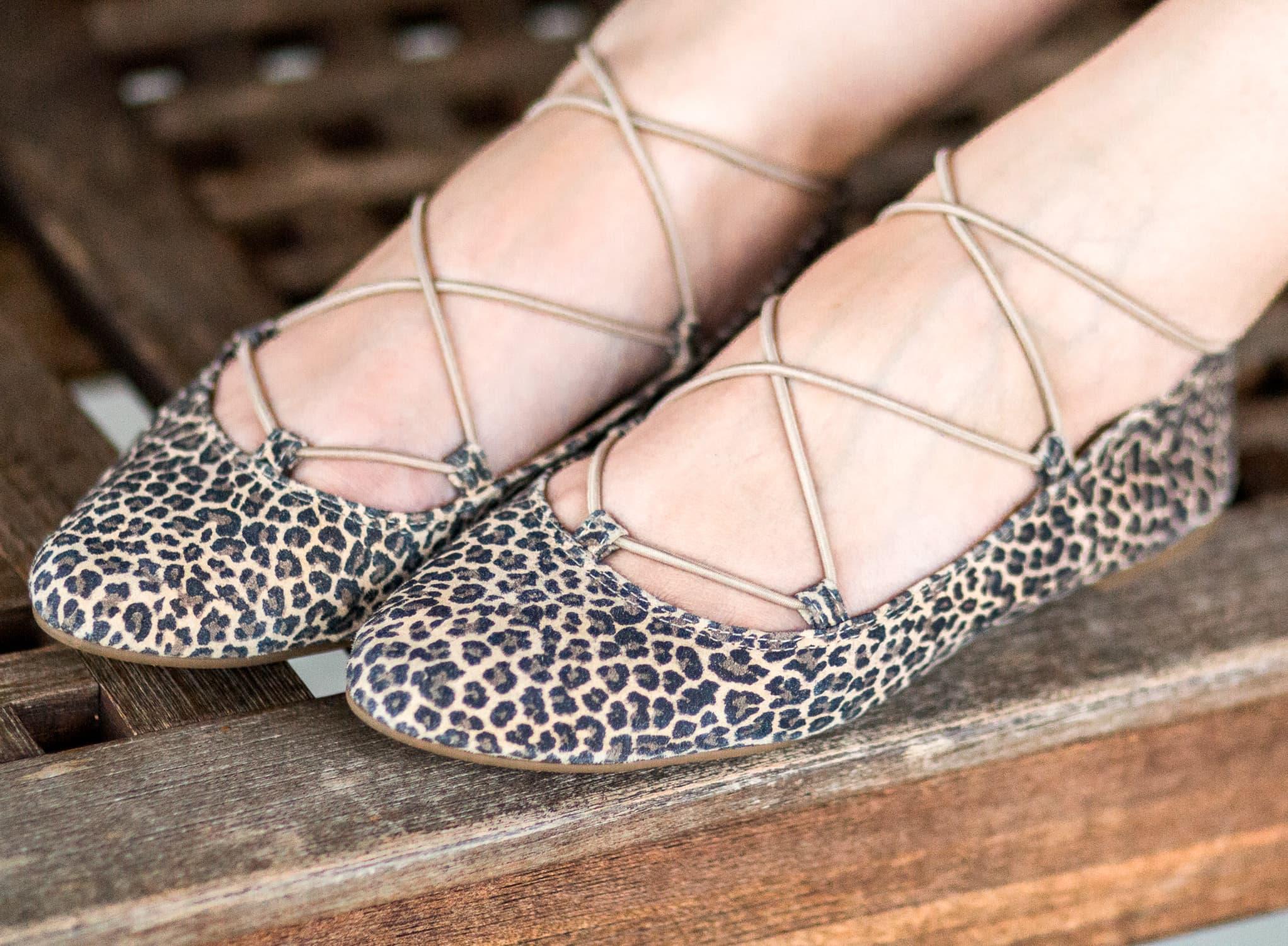 Lucky Brand Aviee leopard print lace-up ballet flats