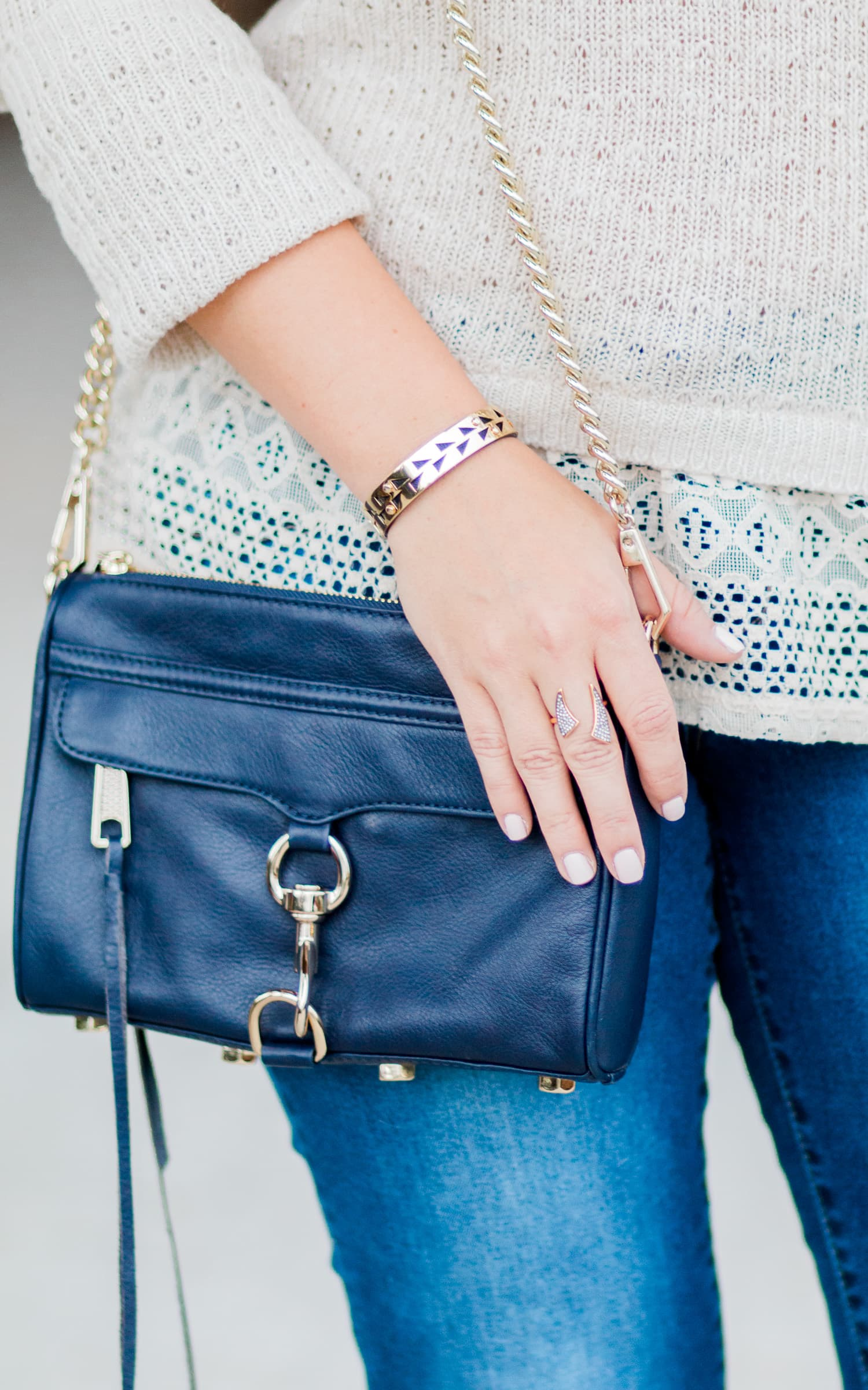 Rebecca Minkoff navy and gold Mini MAC crossbody bag styled with Stella & Dot Addison Cuff and Pave Horn Ring styled into a cute fall outfit by style blogger Ashley Brooke Nicholas