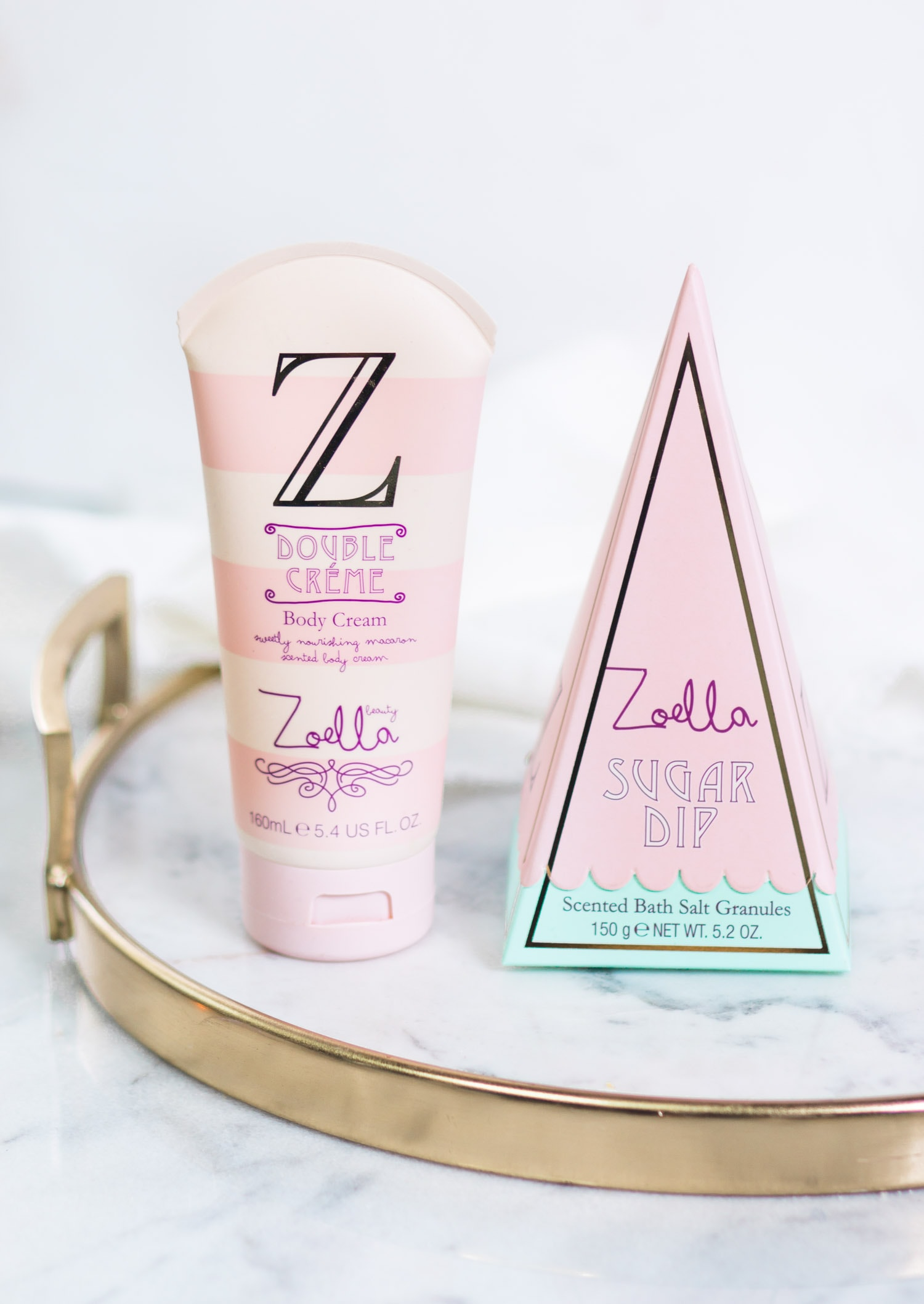 Zoella Beauty Sweet Inspirations |  Double Creme body cream and Sugar Dip scented bath salt granules review | beauty blogger Ashley Brooke Nicholas