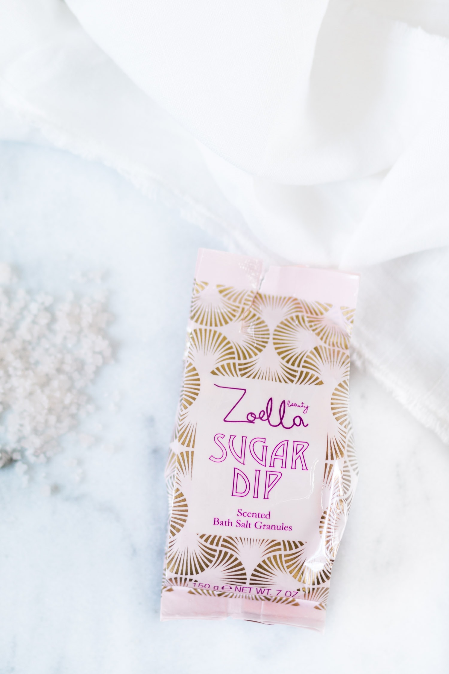 Zoella Beauty Sweet Inspirations |  Sugar Dip scented bath salt granules review | beauty blogger Ashley Brooke Nicholas