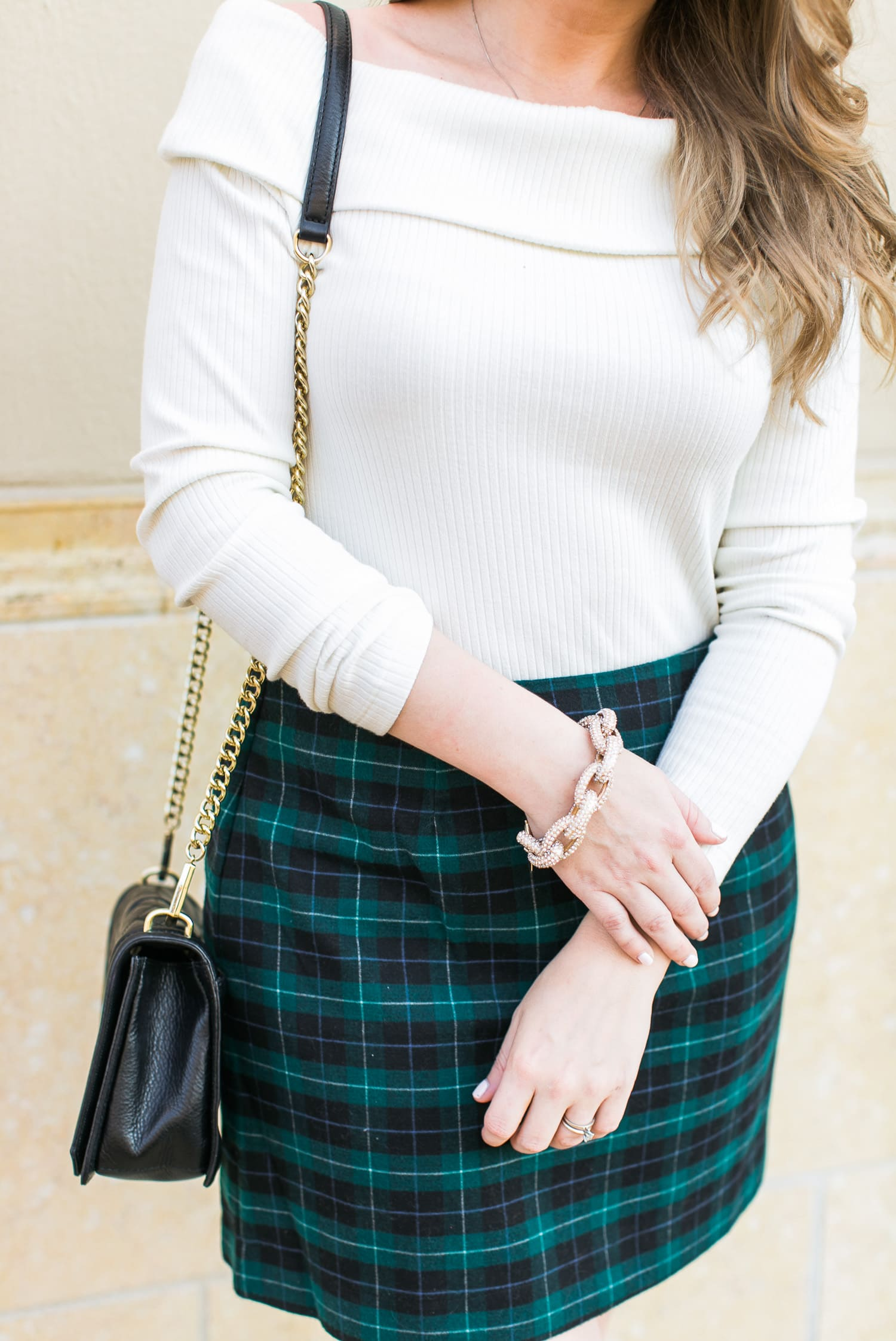 holiday-party-outfit-idea-plaid-skirt-pave-link-bracelet-rebecca-minkoff-purse-017