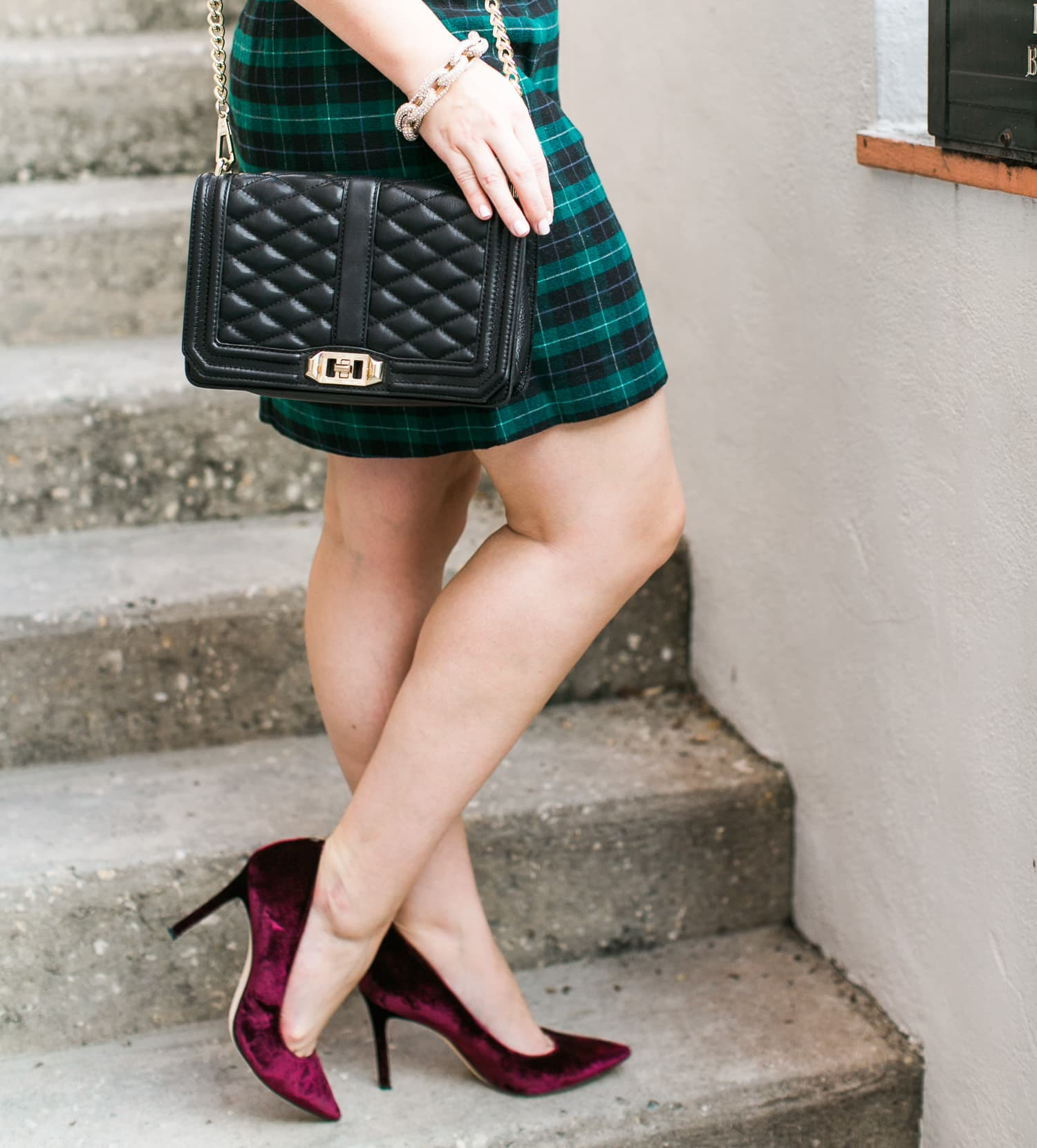 sam-edelman-burgundy-velvet-pumps-green-plaid-skirt-rebecca-minkoff-love-cross-bag-pave-link-bracelet-022