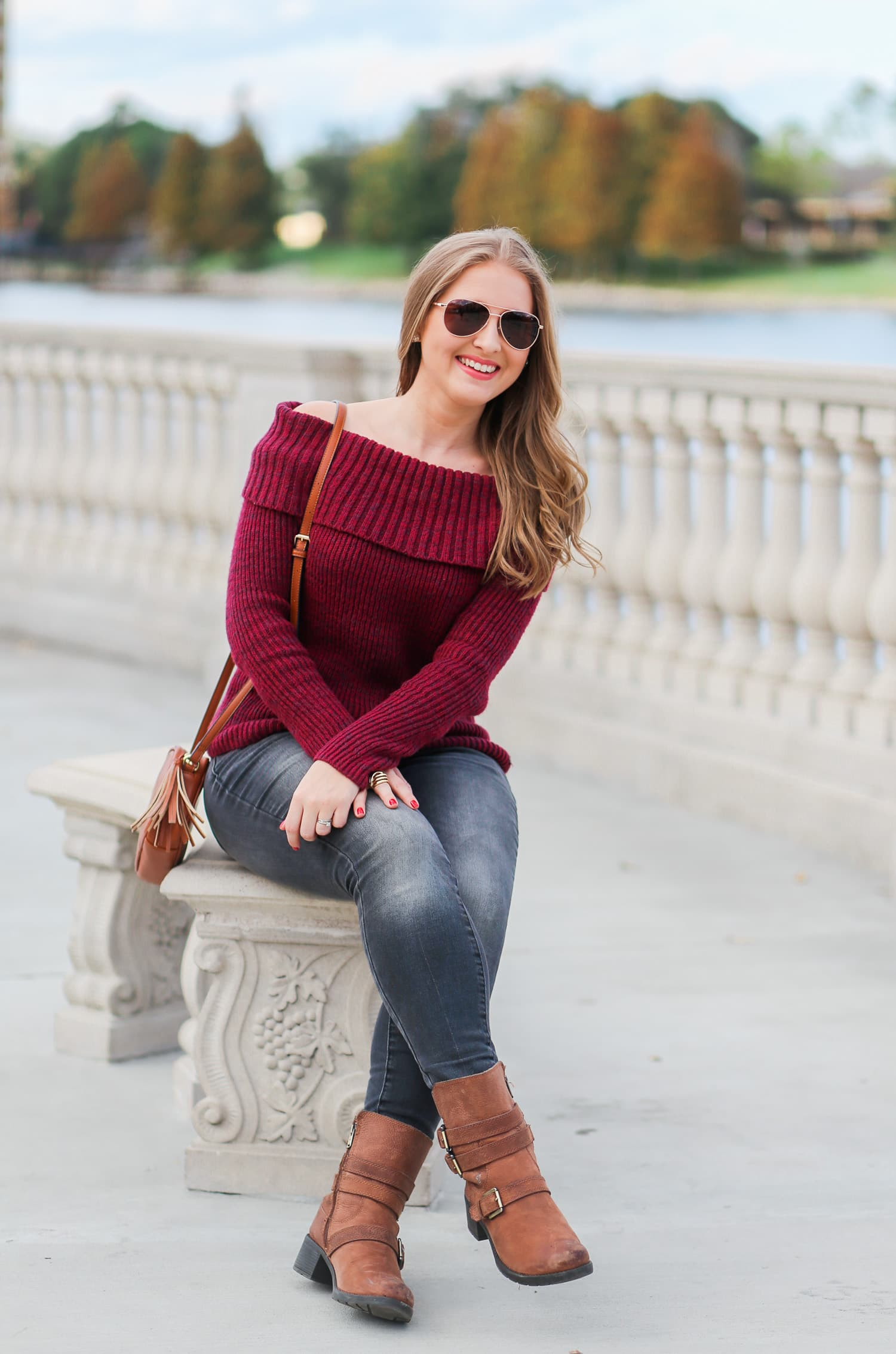 casual-winter-outfit-off-the-shoulder-sweater-gray-jeggins-moto-boots-foster-grant-rose-gold-aviator-sunglasses-7715-2
