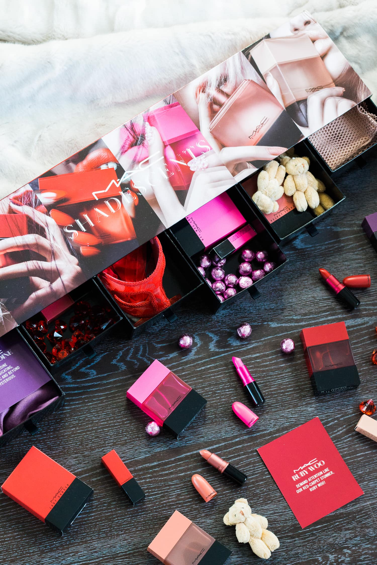 A full review of the MAC Shadescents collection featuring six of MAC's iconic lipstick shades (Ruby Woo, Candy Yum Yum, Lady Danger, Velvet Teddy, Heroine, and Creme D'Nude) and coordinating perfumes for each shade by Florida beauty blogger Ashley Brooke Nicholas.