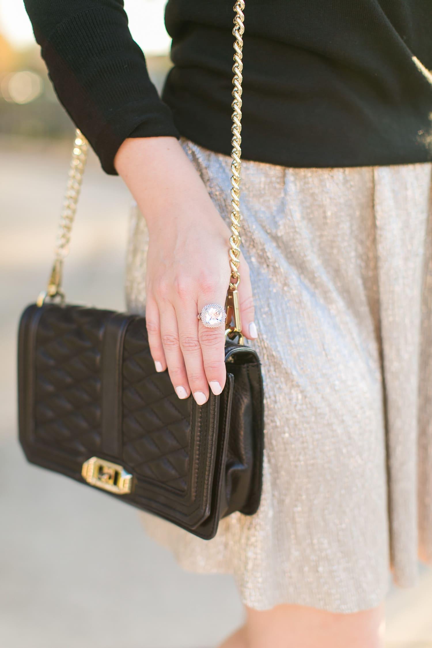 philip gavriel ring, black purse sunset golden hour outfit