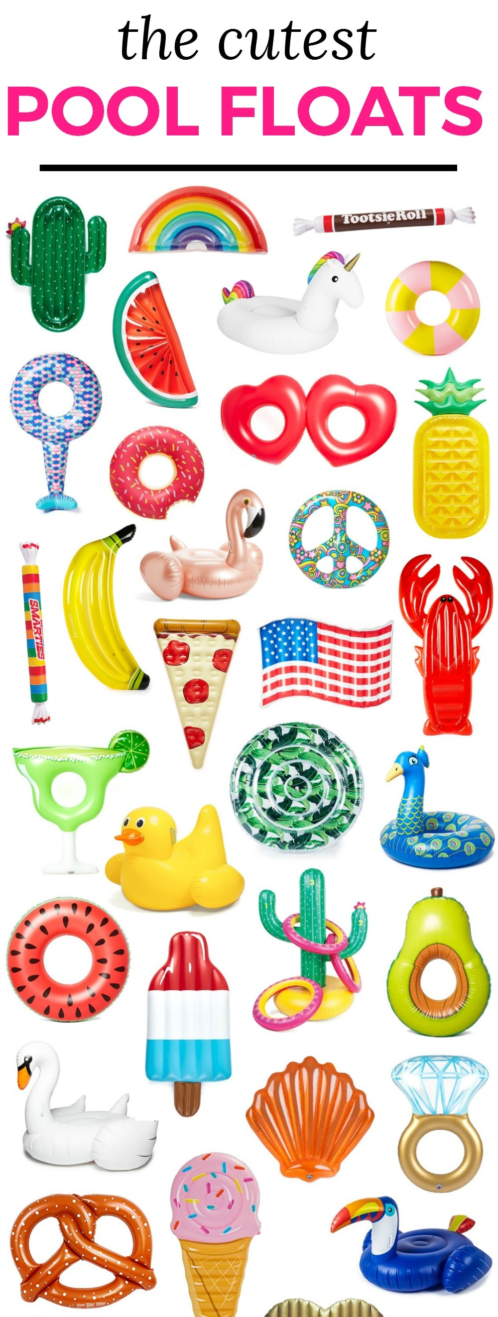 The best and cutest inflatable pool floats for Spring Break and summer vacation + how to score them at an amazing sale price! | Pool party essentials | Cute pool floats | Cactus, rainbow, flamingo, watermelon, unicorn, striped, mermaid tail, banana, rose gold flamingo, donut, donut with sprinkles, seashell, diamond ring, avocado, lobster, pineapple, heart, peace sign, margarita, swan, American flag, pizza, Tootsie roll pool float | Florida lifestyle blogger Ashley Brooke Nicholas